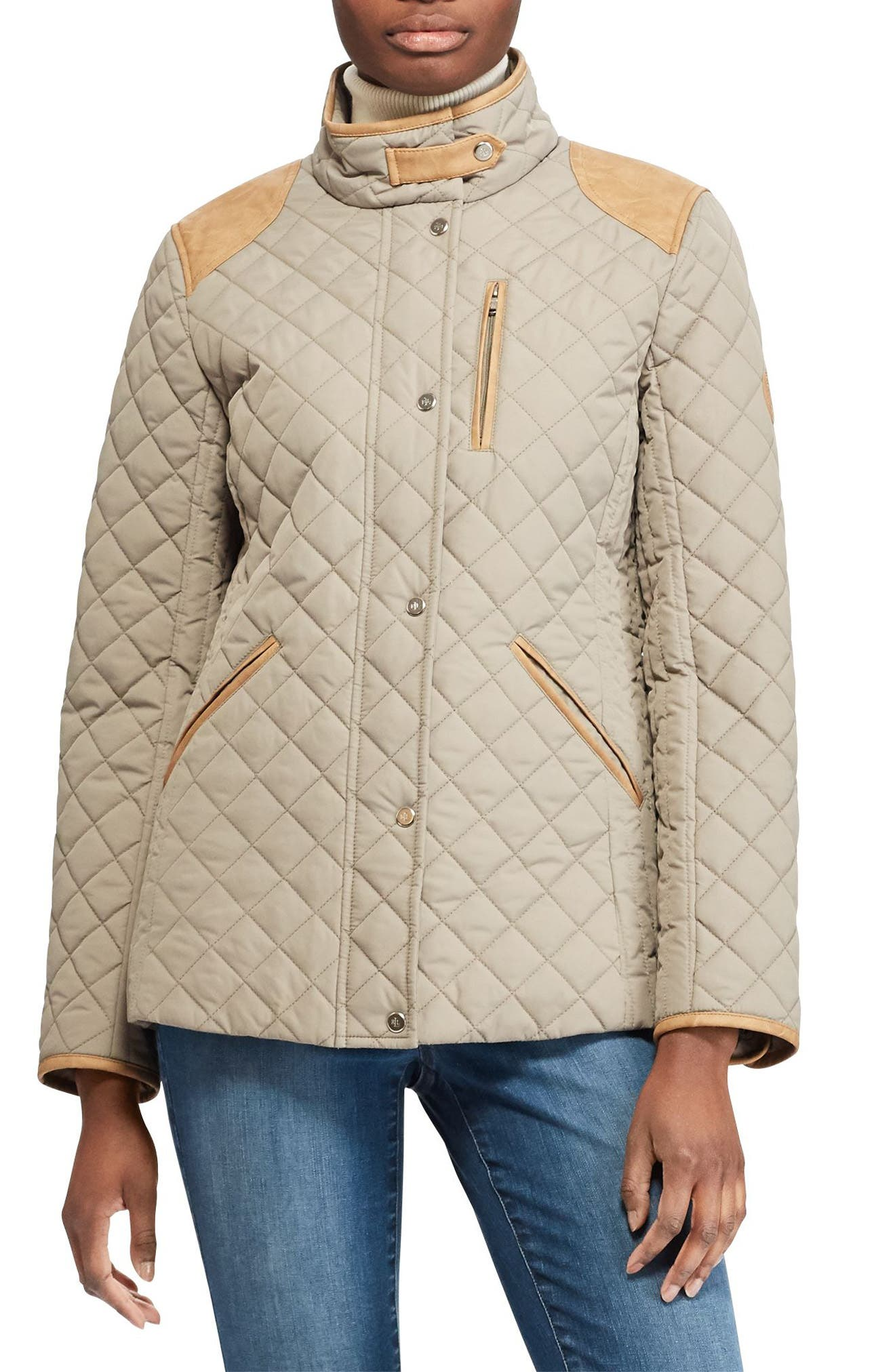 Faux Leather Trim Quilted Jacket,                             Main thumbnail 1, color,                             Summer Sage
