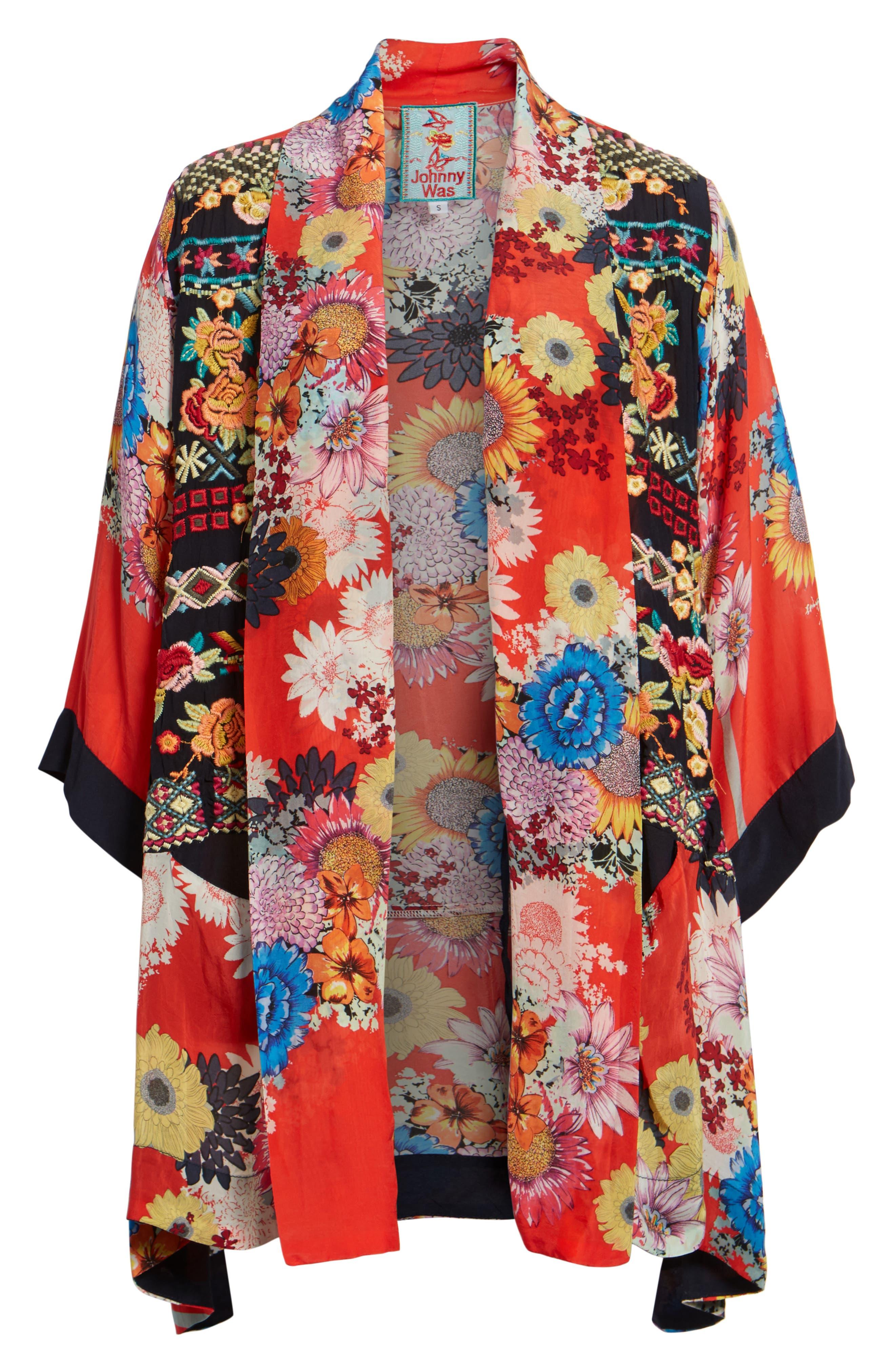Alternate Image 6  - Johnny Was Mishka Embroidered Silk Kimono