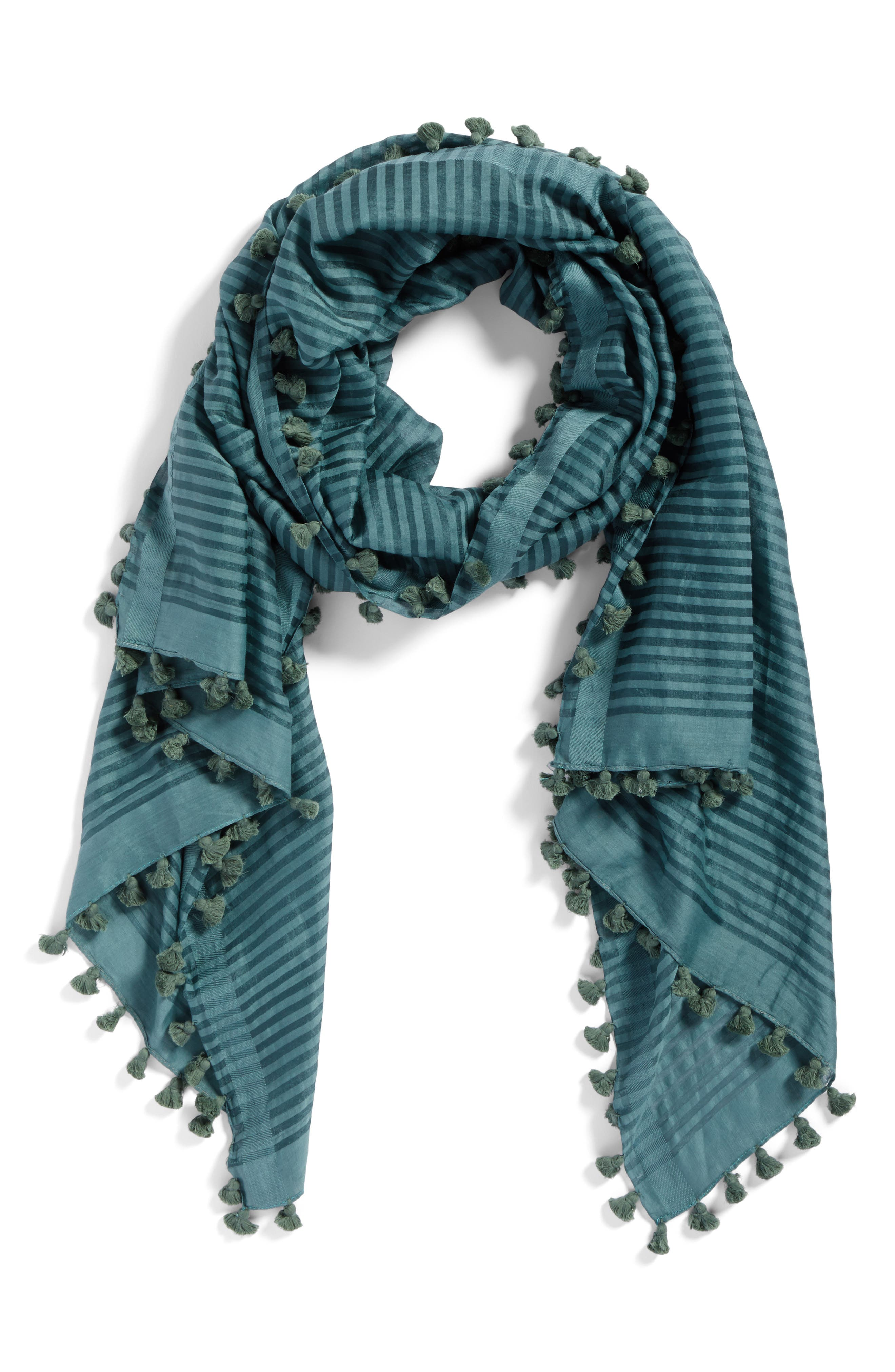 Stripe Cotton & Silk Scarf,                             Alternate thumbnail 4, color,                             Dragonfly