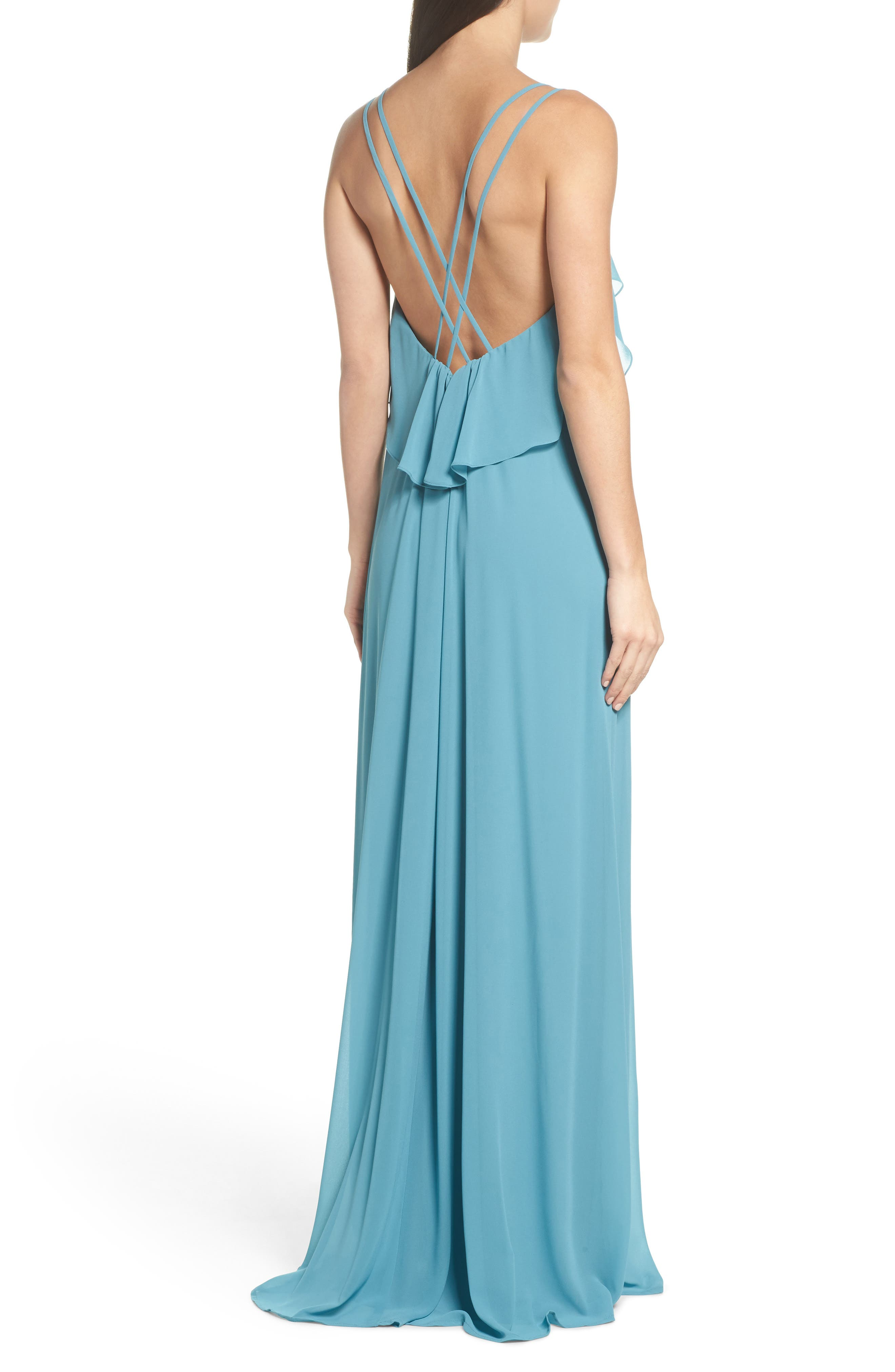 Avery Strappy Ruffle V-Neck Gown,                             Alternate thumbnail 2, color,                             Teal
