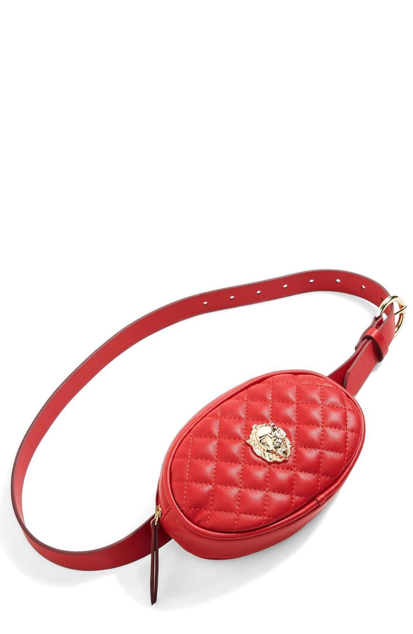Quilted Faux Leather Belt Bag,                             Alternate thumbnail 4, color,                             Red