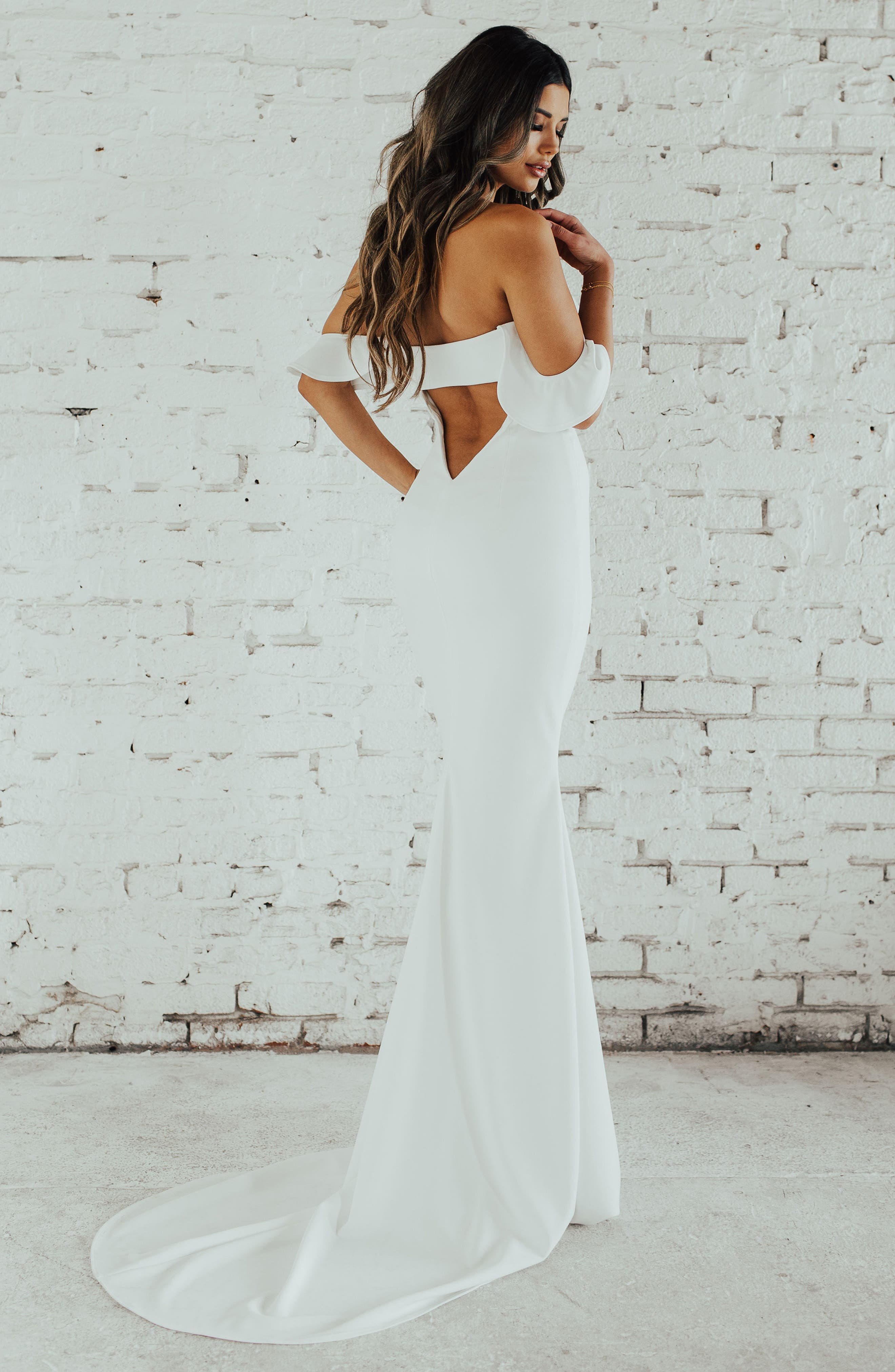 Ruffled Off the Shoulder Crepe Mermaid Gown,                             Alternate thumbnail 4, color,                             Ivory