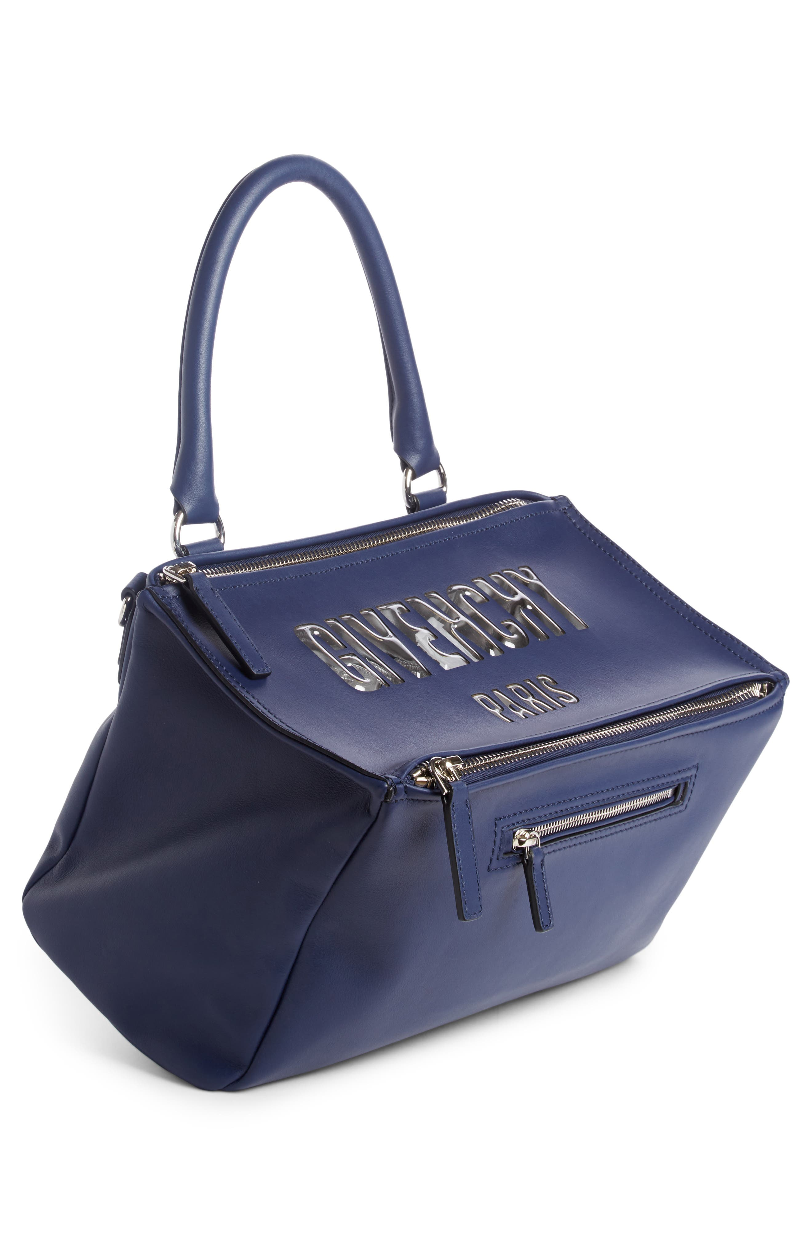 Medium Pandora Bubble Logo Leather Satchel,                             Alternate thumbnail 3, color,                             Night Blue