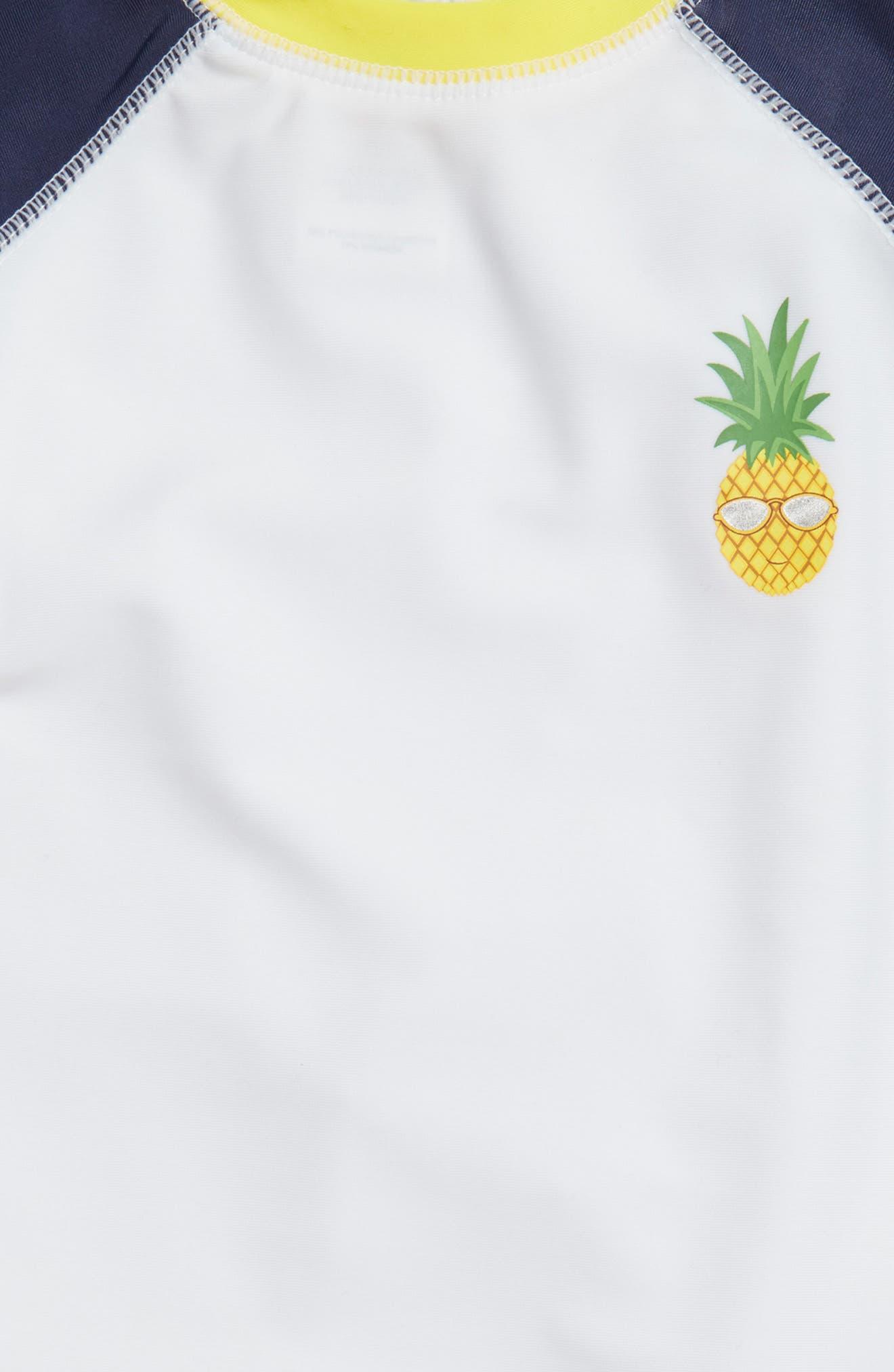 Preppy Pineapples Two-Piece Rashguard Swimsuit,                             Alternate thumbnail 2, color,                             White Multi