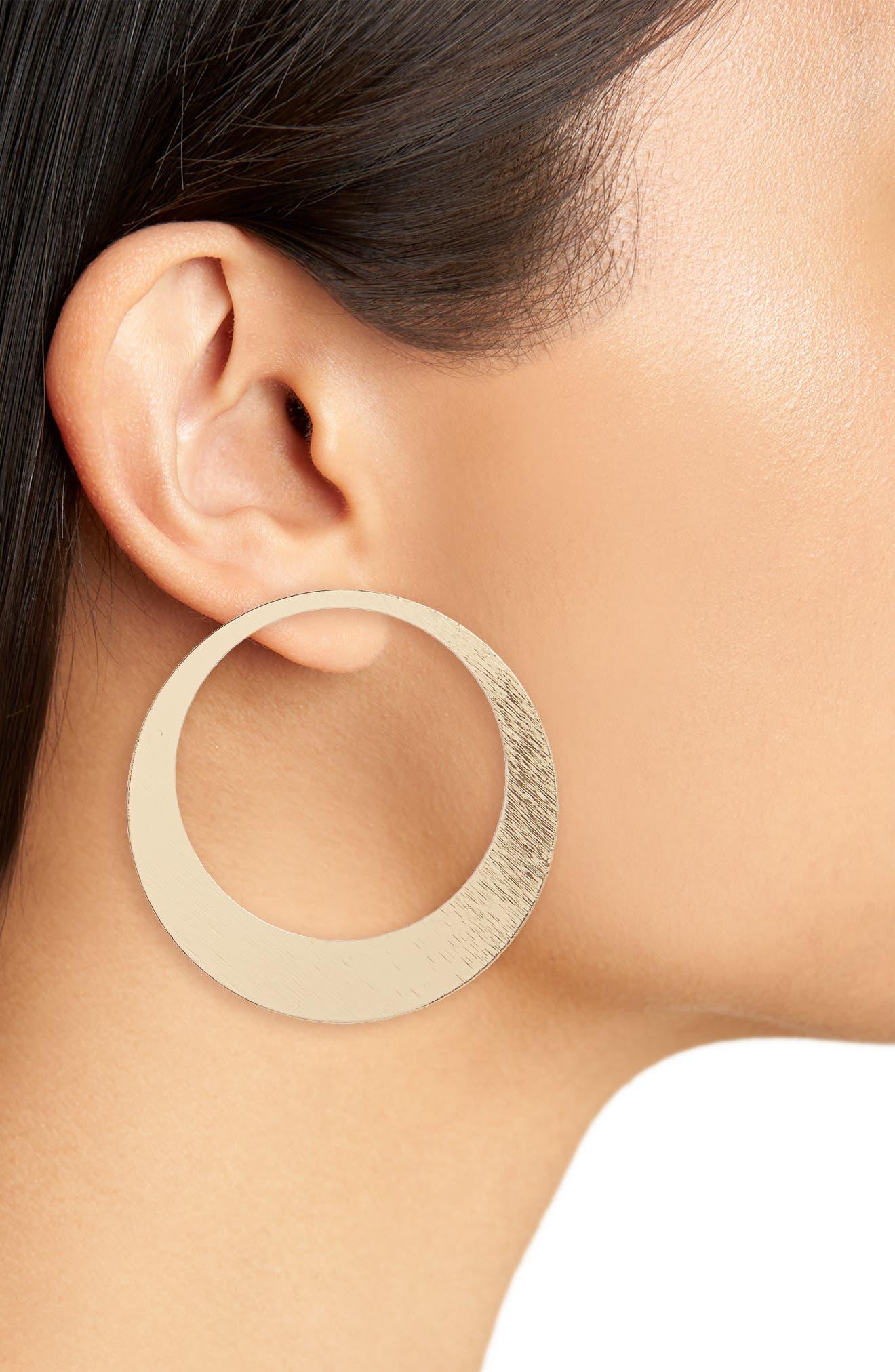 Flat Hoop Earrings,                             Alternate thumbnail 2, color,                             Gold