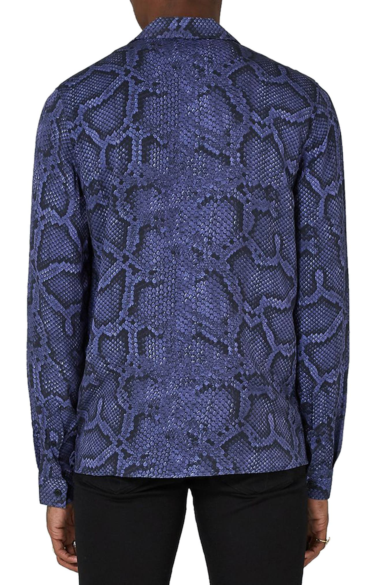 Classic Fit Snakeskin Print Revere Shirt,                             Alternate thumbnail 2, color,                             Purple Multi