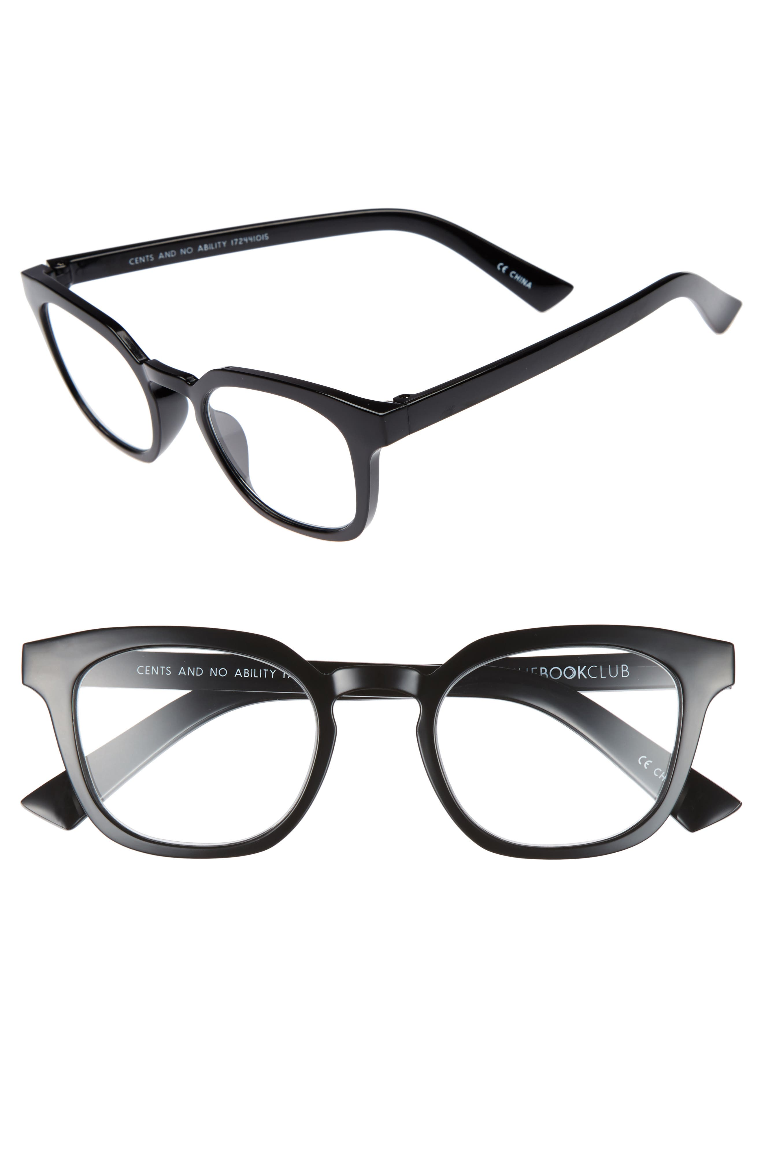 Cents and No Ability 48mm Reading Glasses,                             Main thumbnail 1, color,                             Black Marker