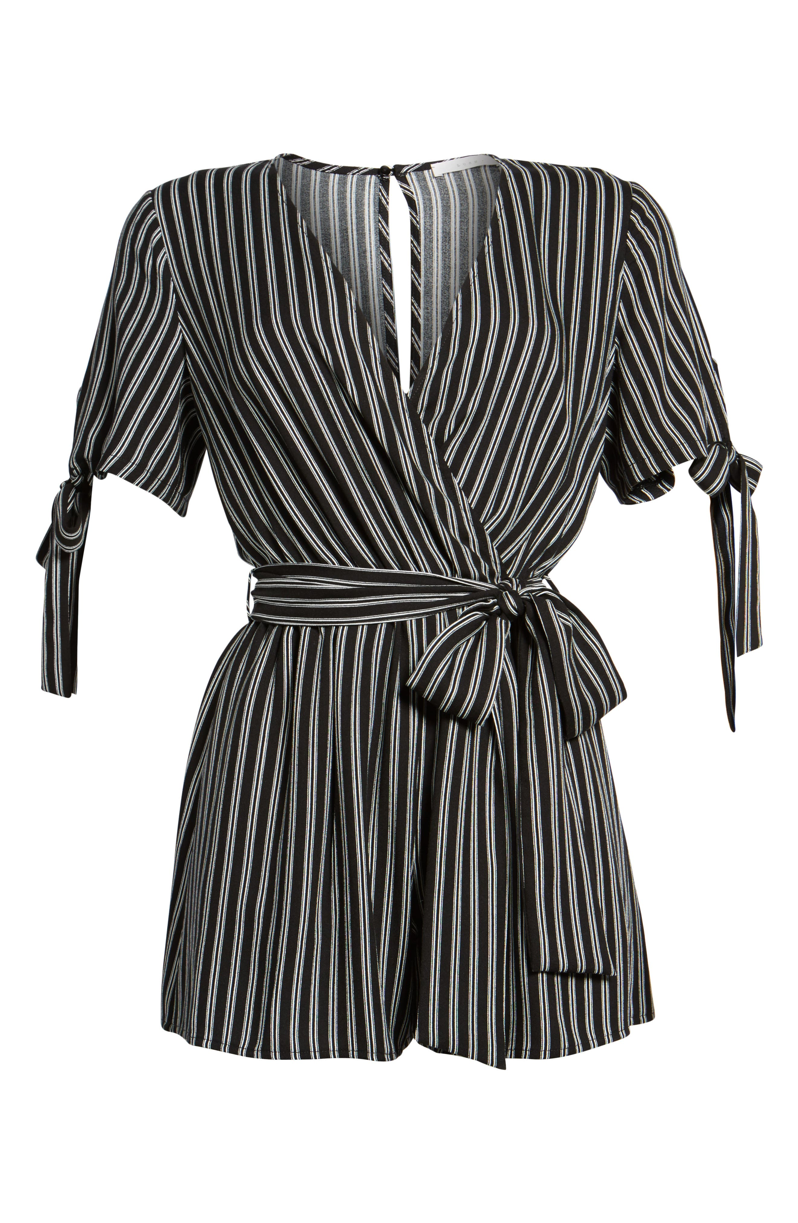 Faux Wrap Tie Sleeve Romper,                             Alternate thumbnail 6, color,                             Black White Stripe