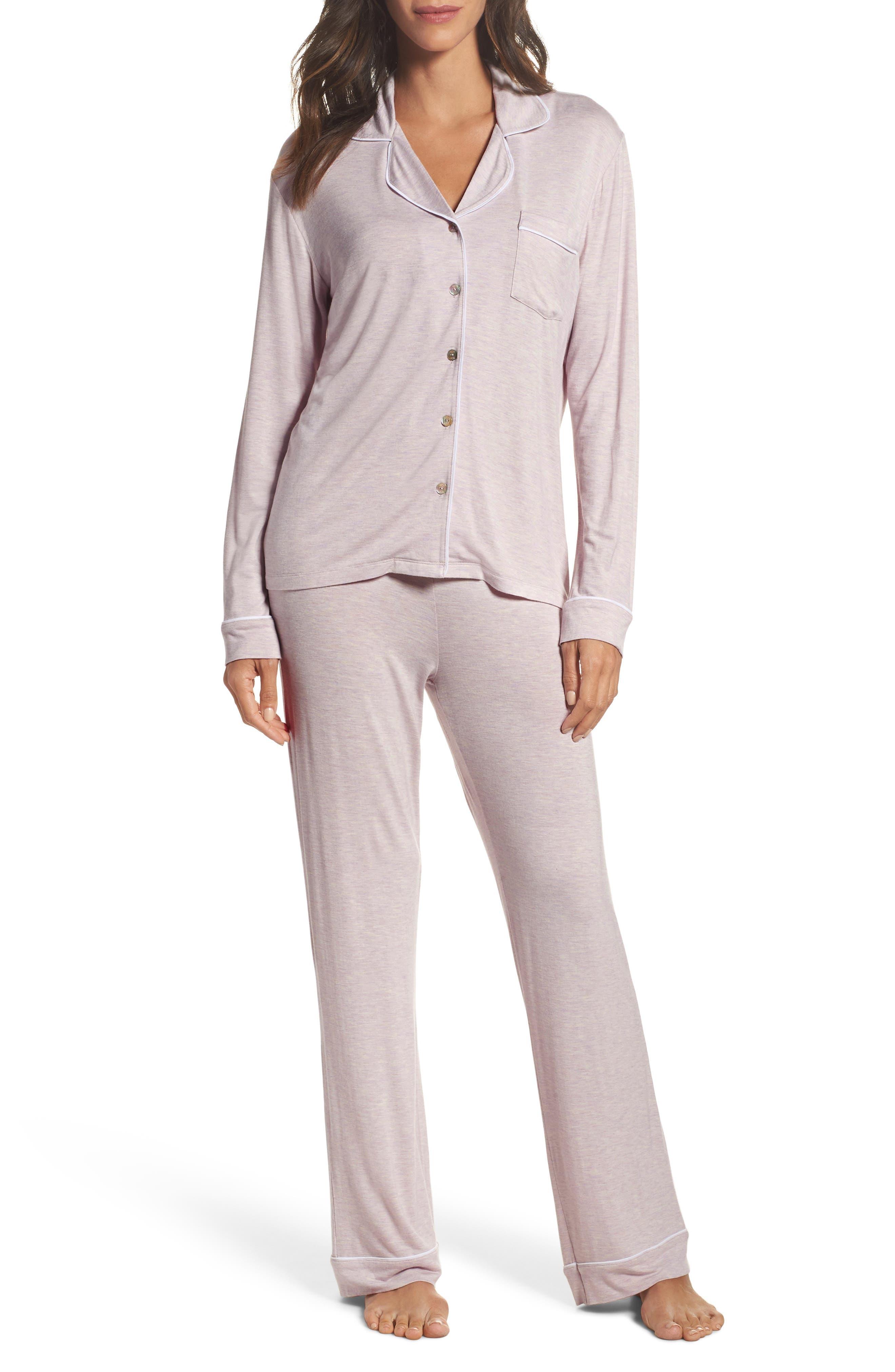 Lenon Jersey Pajamas,                             Main thumbnail 1, color,                             Lavender Fog Heather