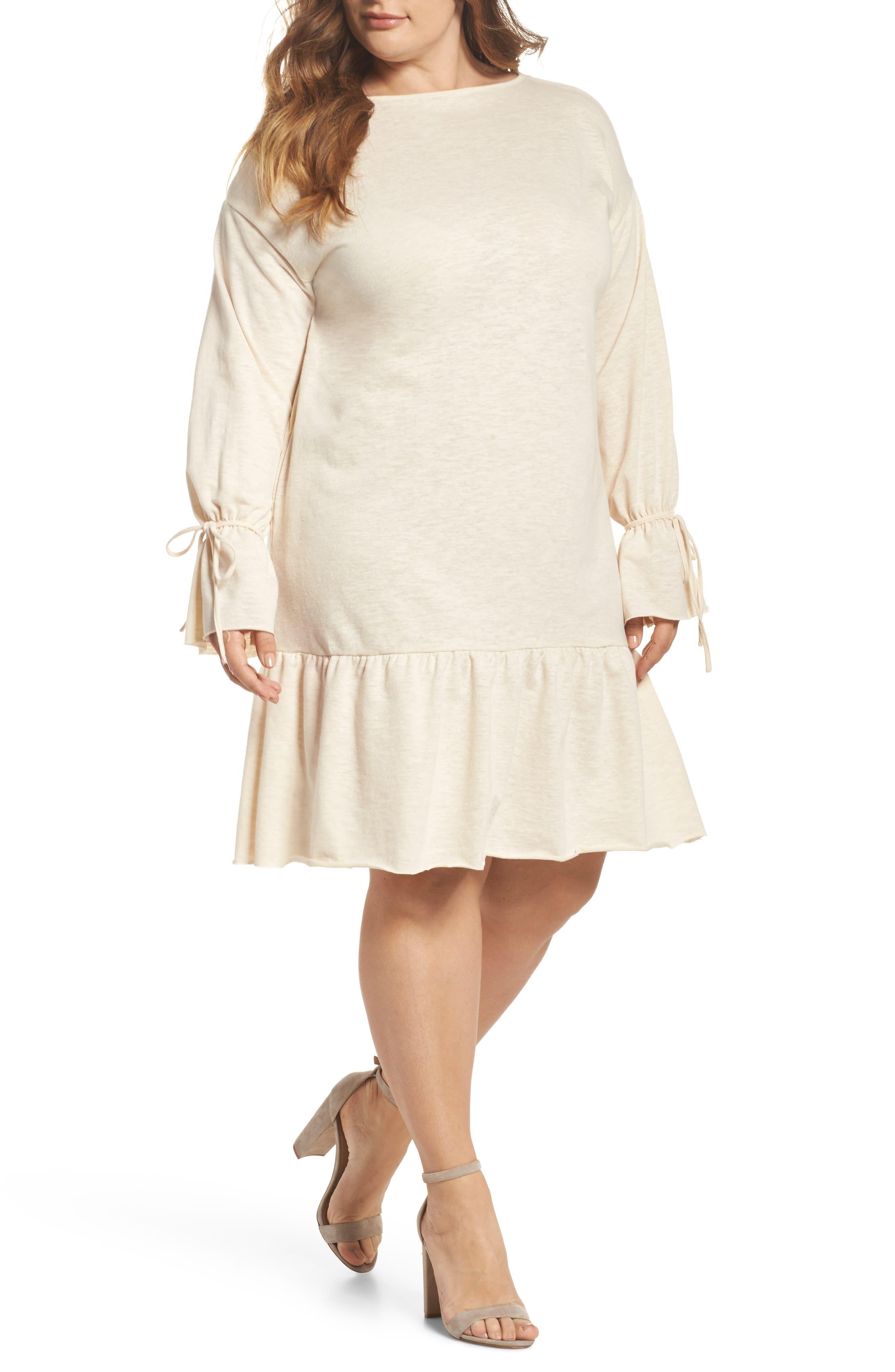 Flounce Hem Shift Dress,                         Main,                         color, Ecru