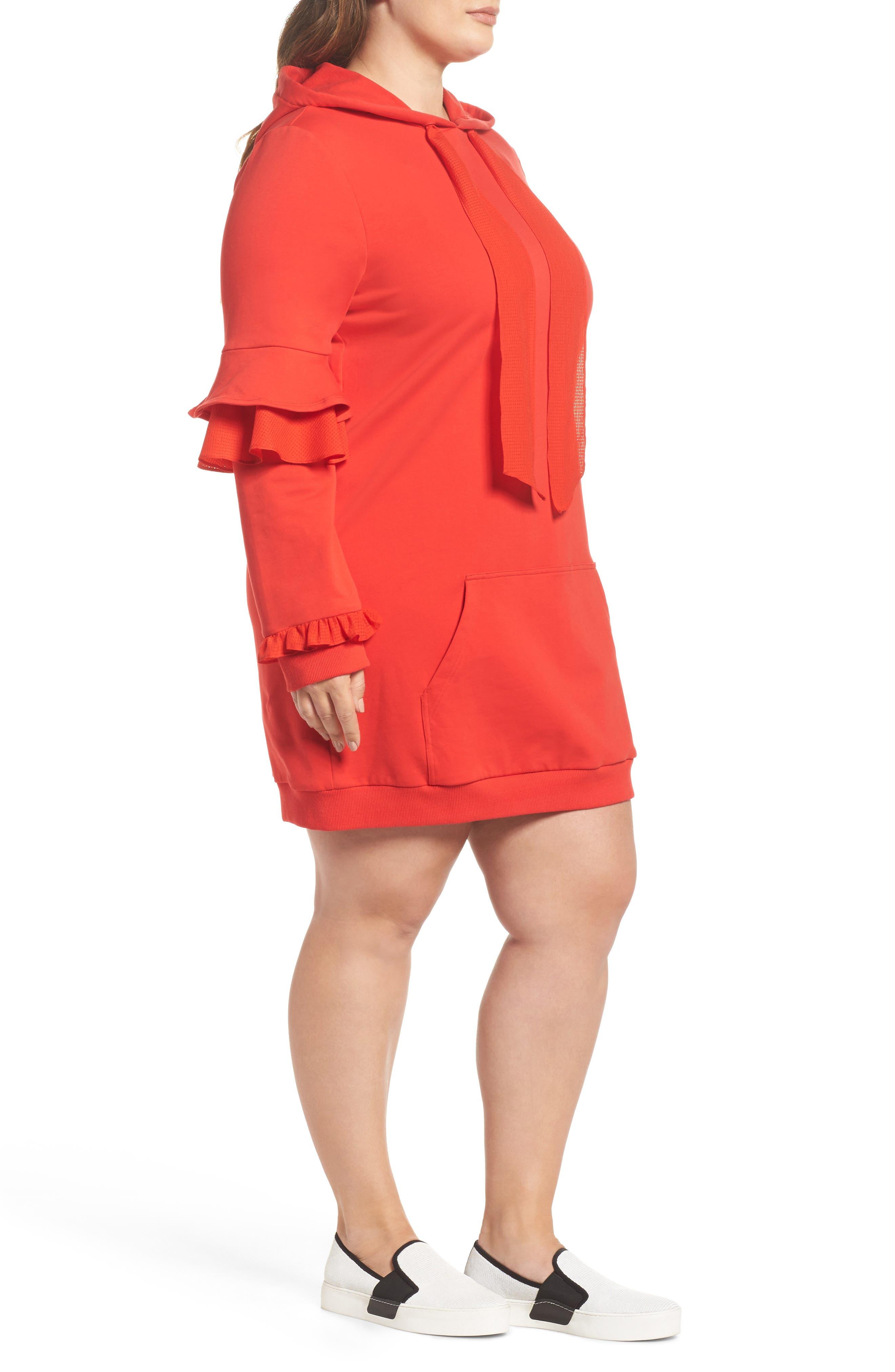 Alternate Image 3  - ELVI The Snapdragon Ruffle Sleeve Hoodie Dress (Regular & Plus Size)