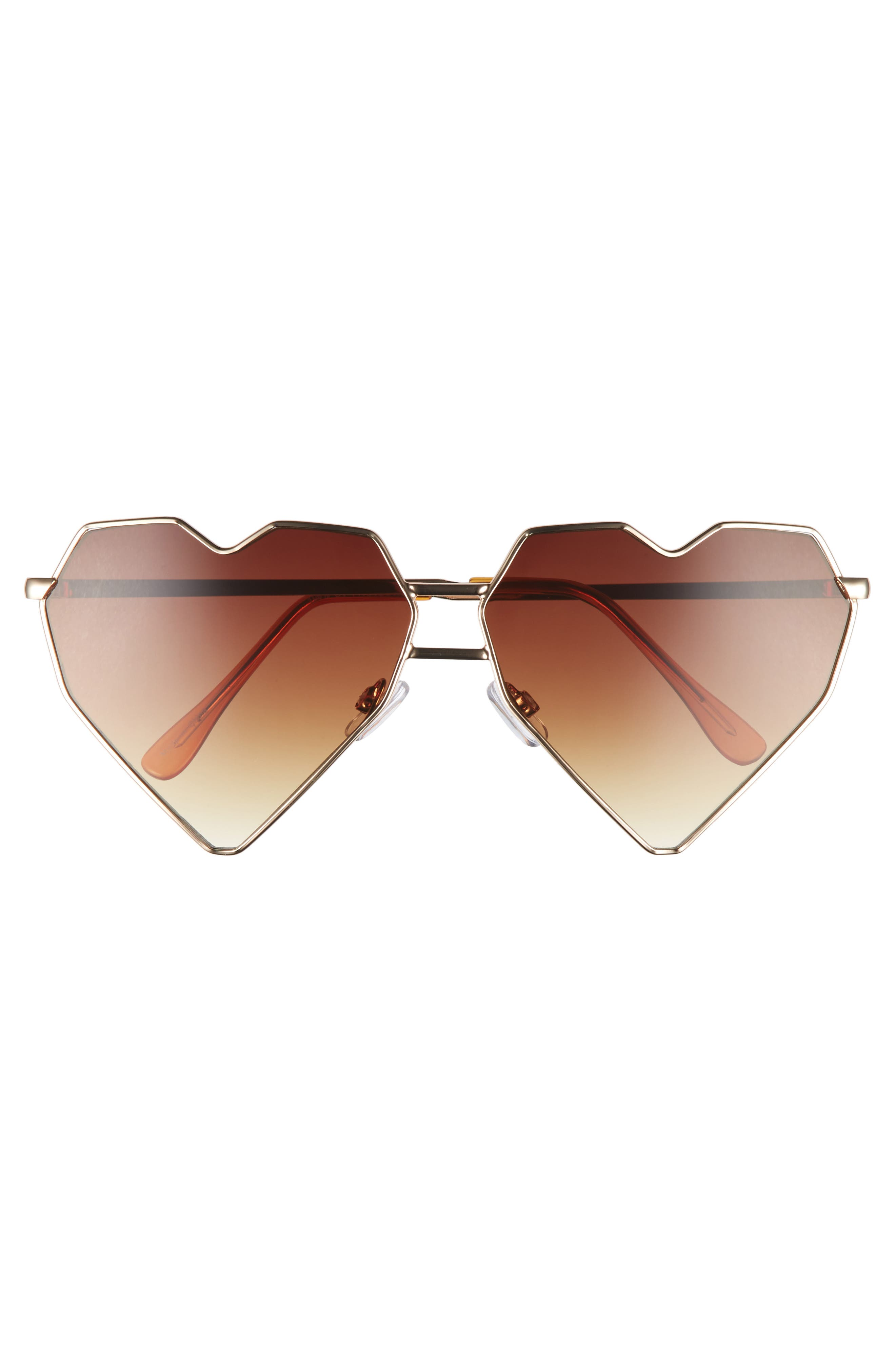 64mm Heart Shaped Sunglasses,                             Alternate thumbnail 3, color,                             Gold