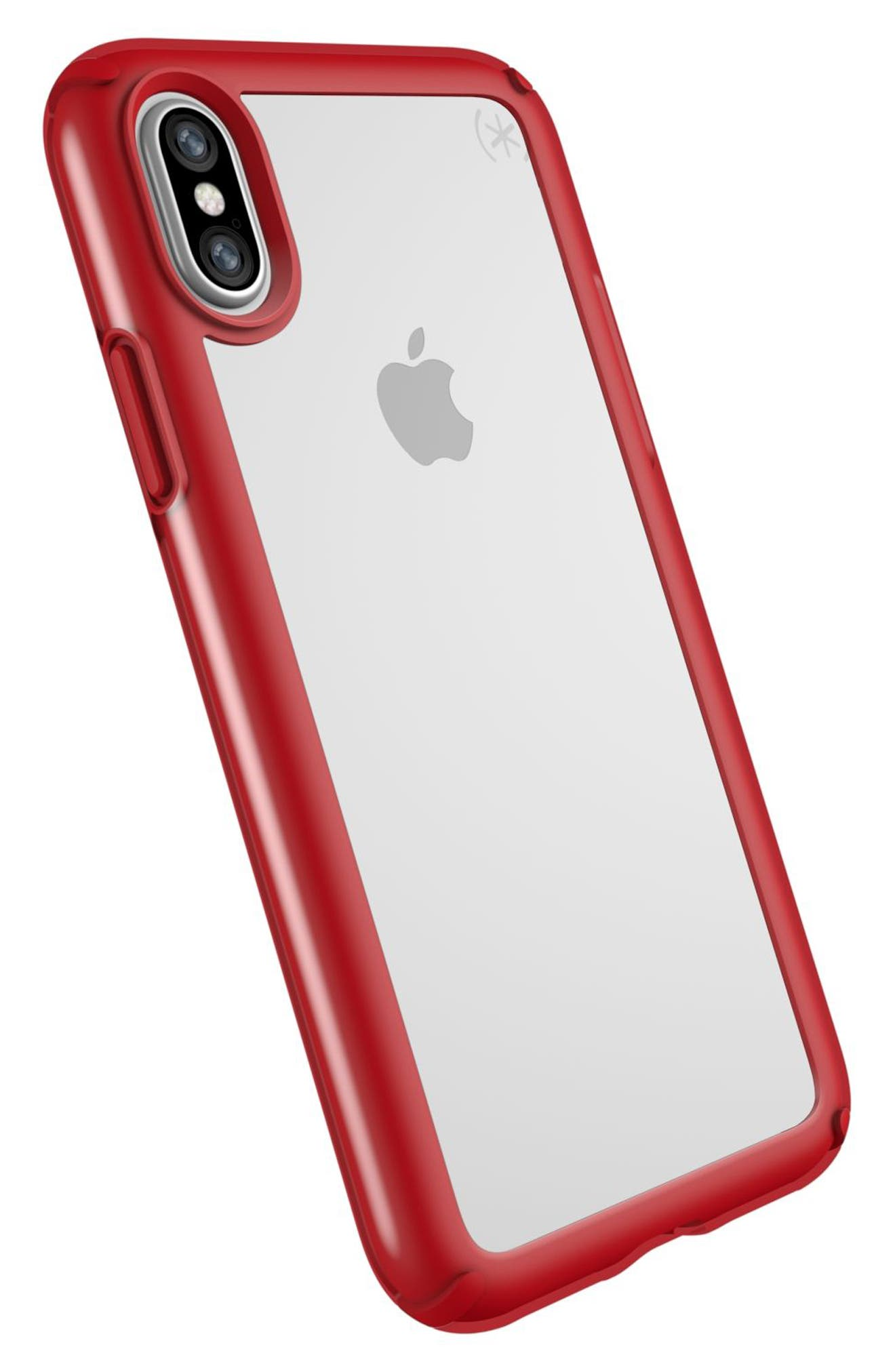 Transparent iPhone X Case,                             Alternate thumbnail 4, color,                             Clear/ Heartthrob Red