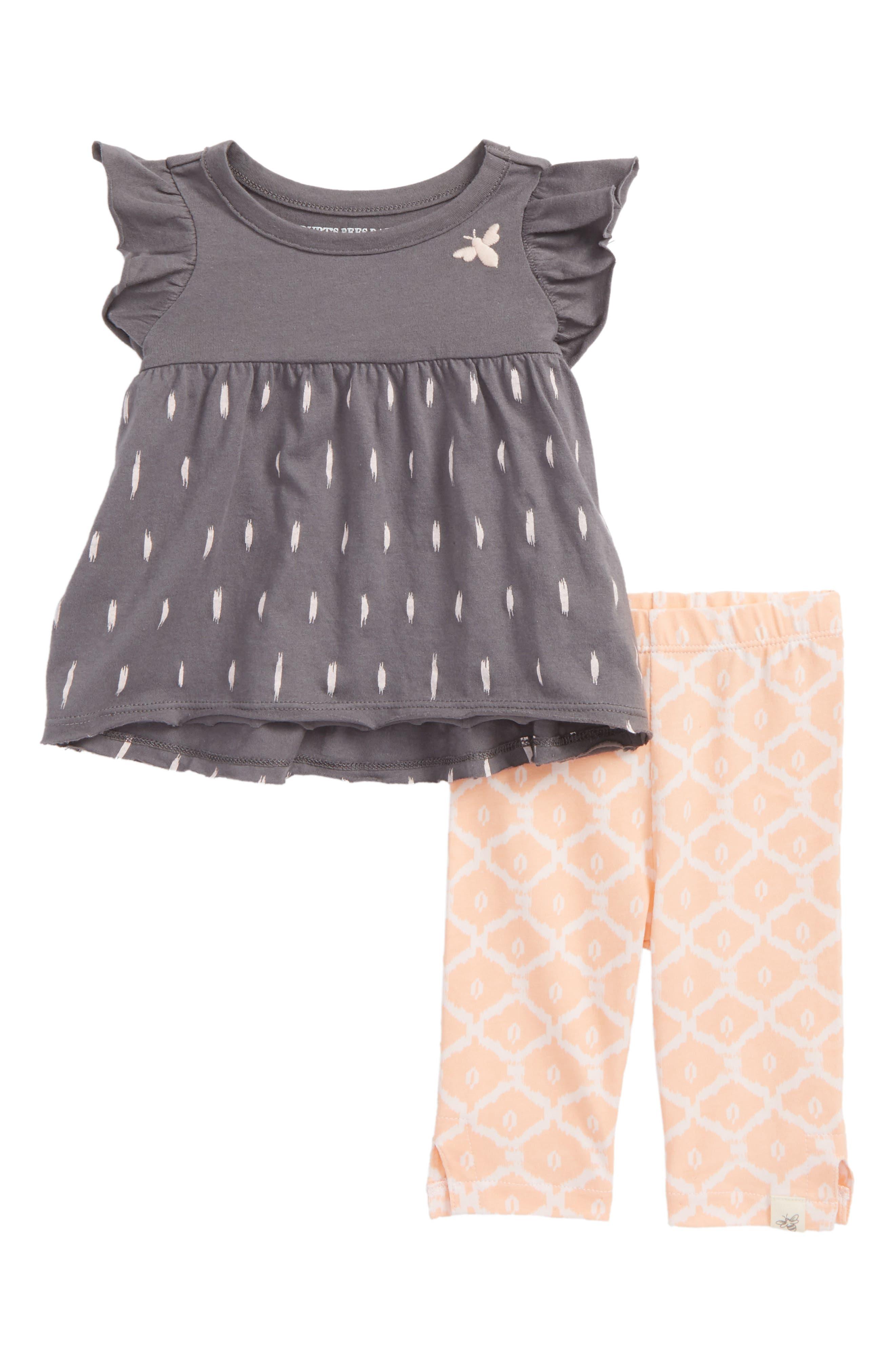 Flutter Sleeve Tee & Capri Leggings Set,                         Main,                         color, Slate