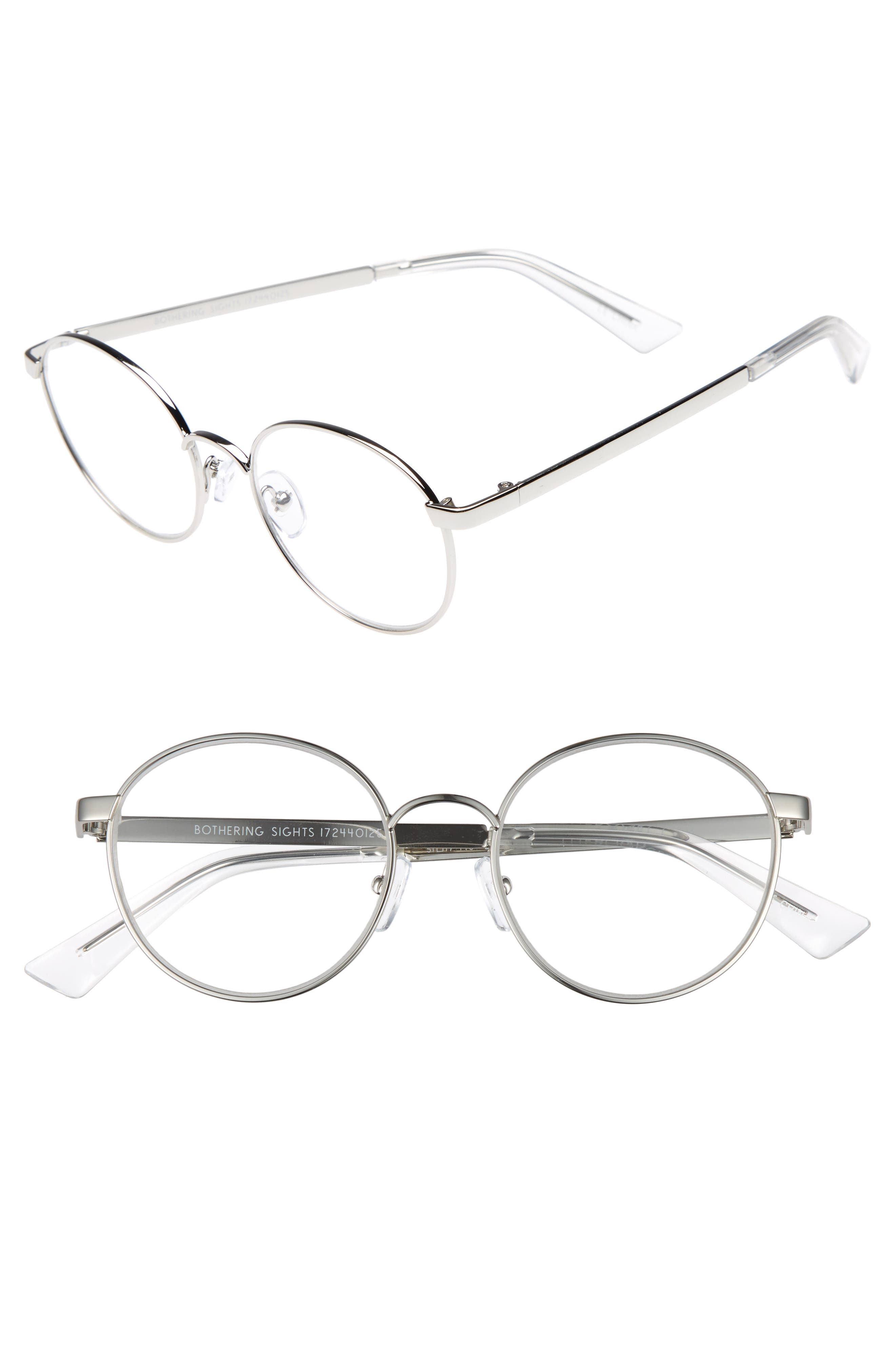 Bothering Sights 51mm Blue Light Filter Glasses,                             Main thumbnail 1, color,                             Silver/ Cellophane