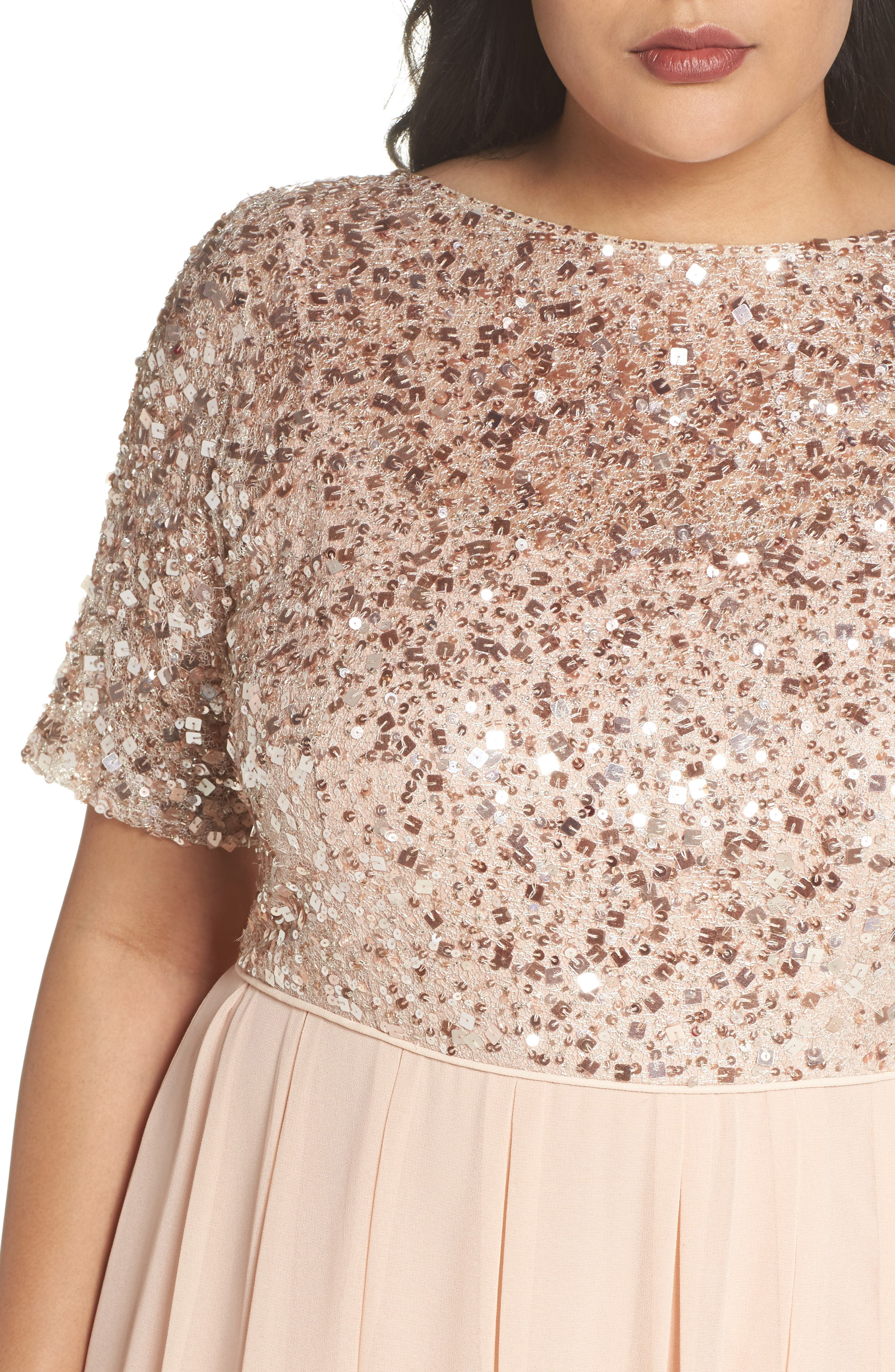 Beaded Metallic Lace Gown,                             Alternate thumbnail 4, color,                             English Rose