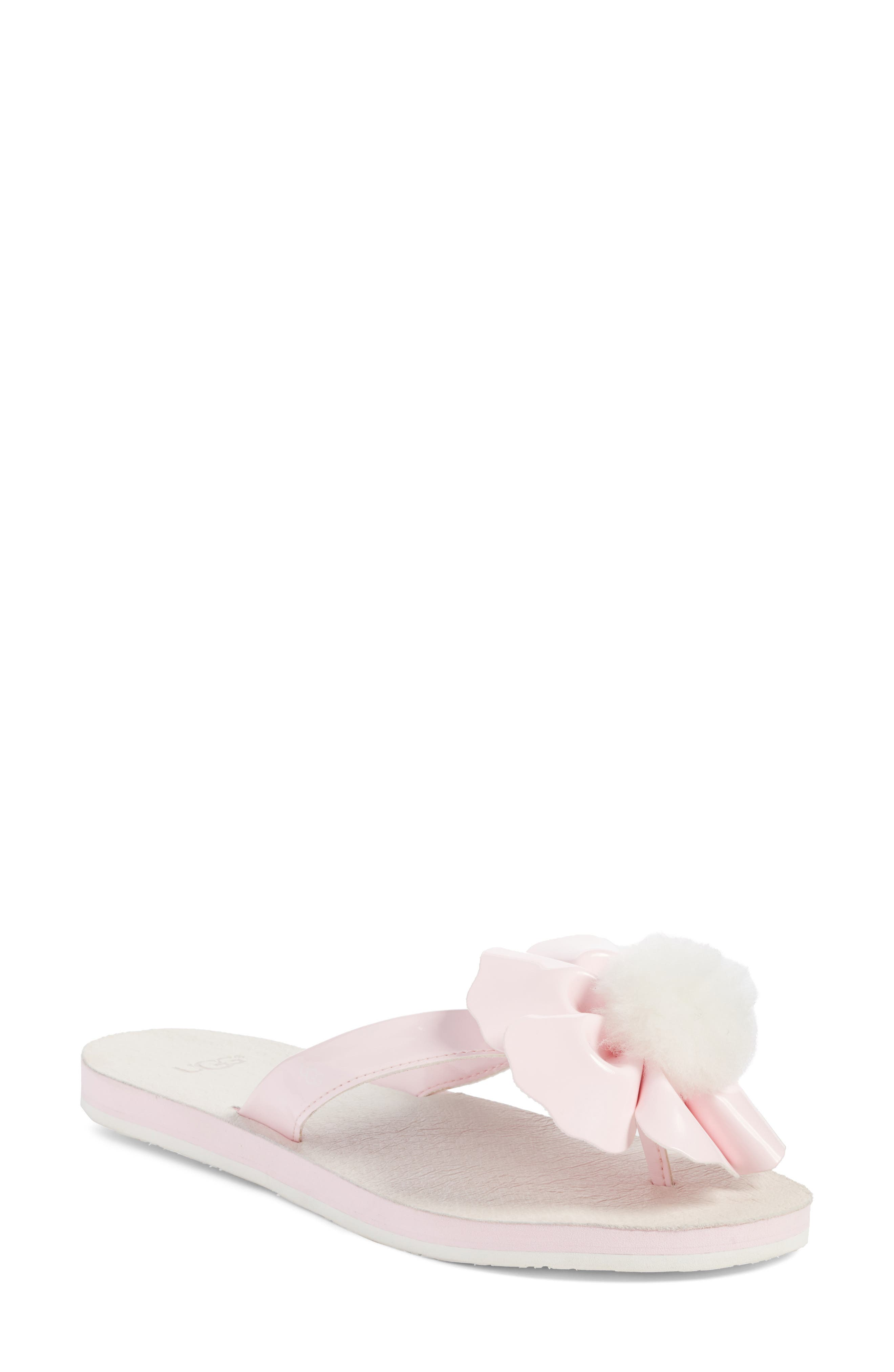 UGG® Poppy Genuine Shearling Pompom Flip Flop (Women)