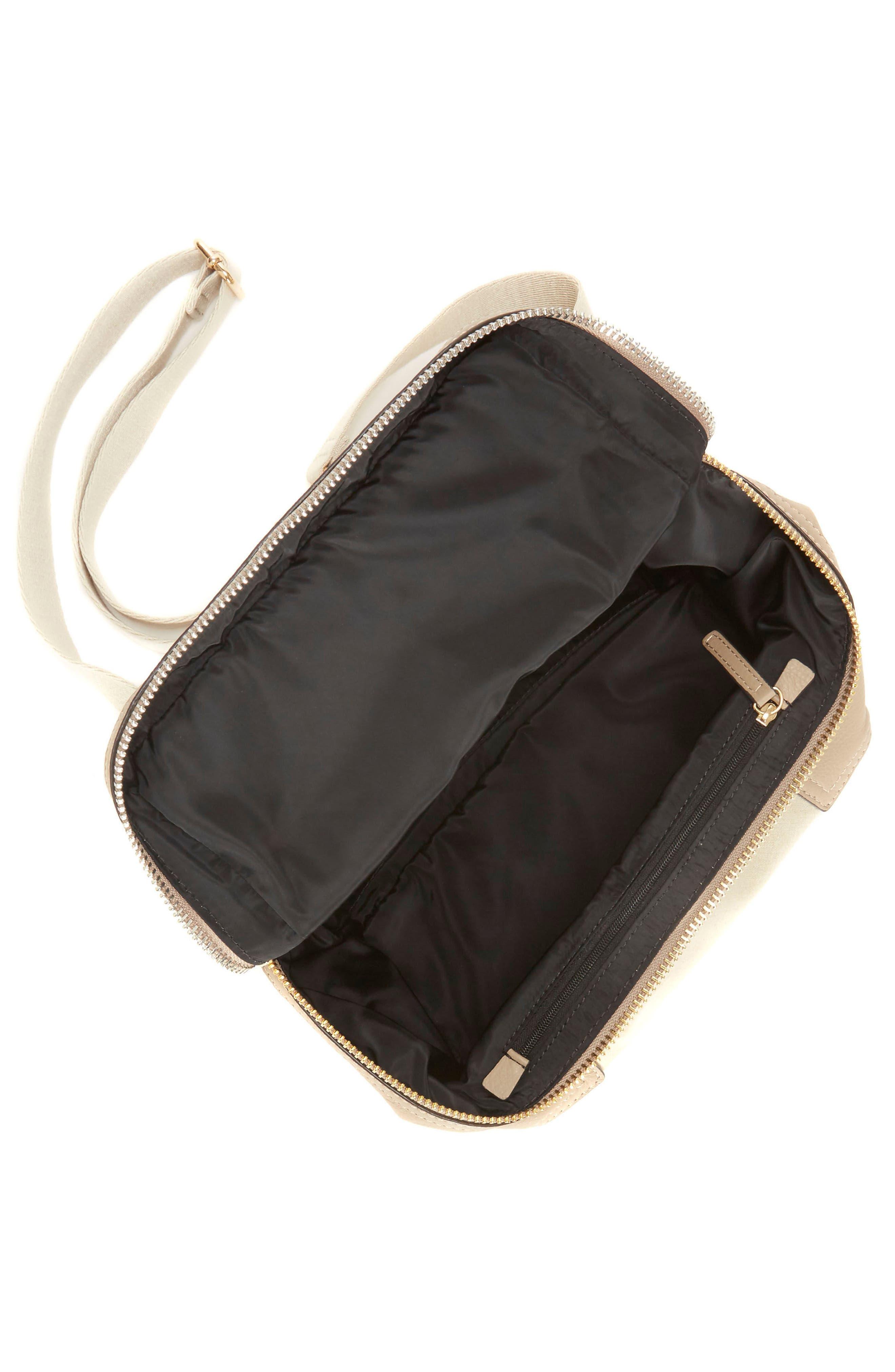 Medium Patch Nylon & Leather Crossbody Bag,                             Alternate thumbnail 3, color,                             Gold