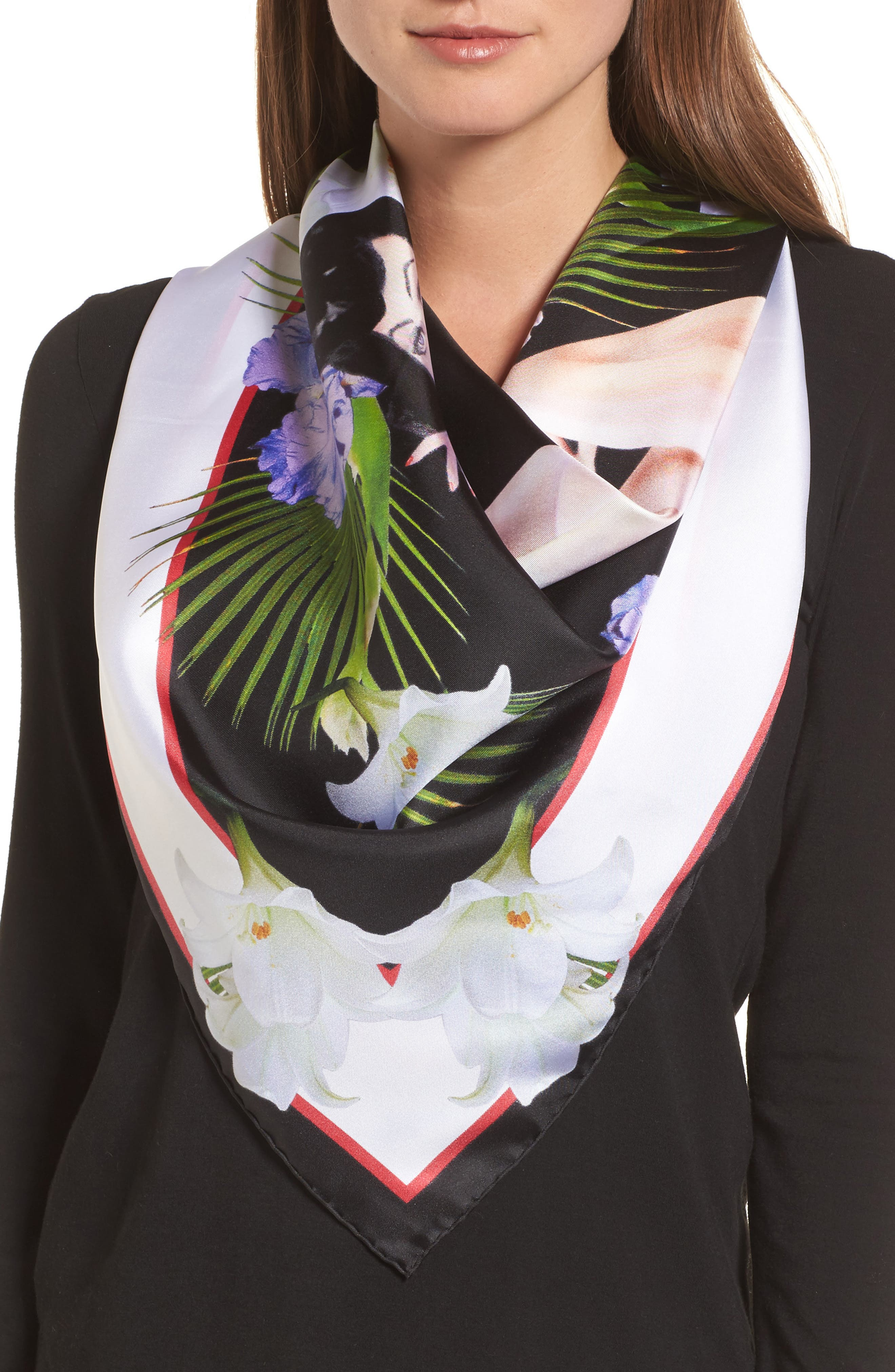 Pin-Up Silk Twill Scarf,                             Alternate thumbnail 2, color,                             Black/ White