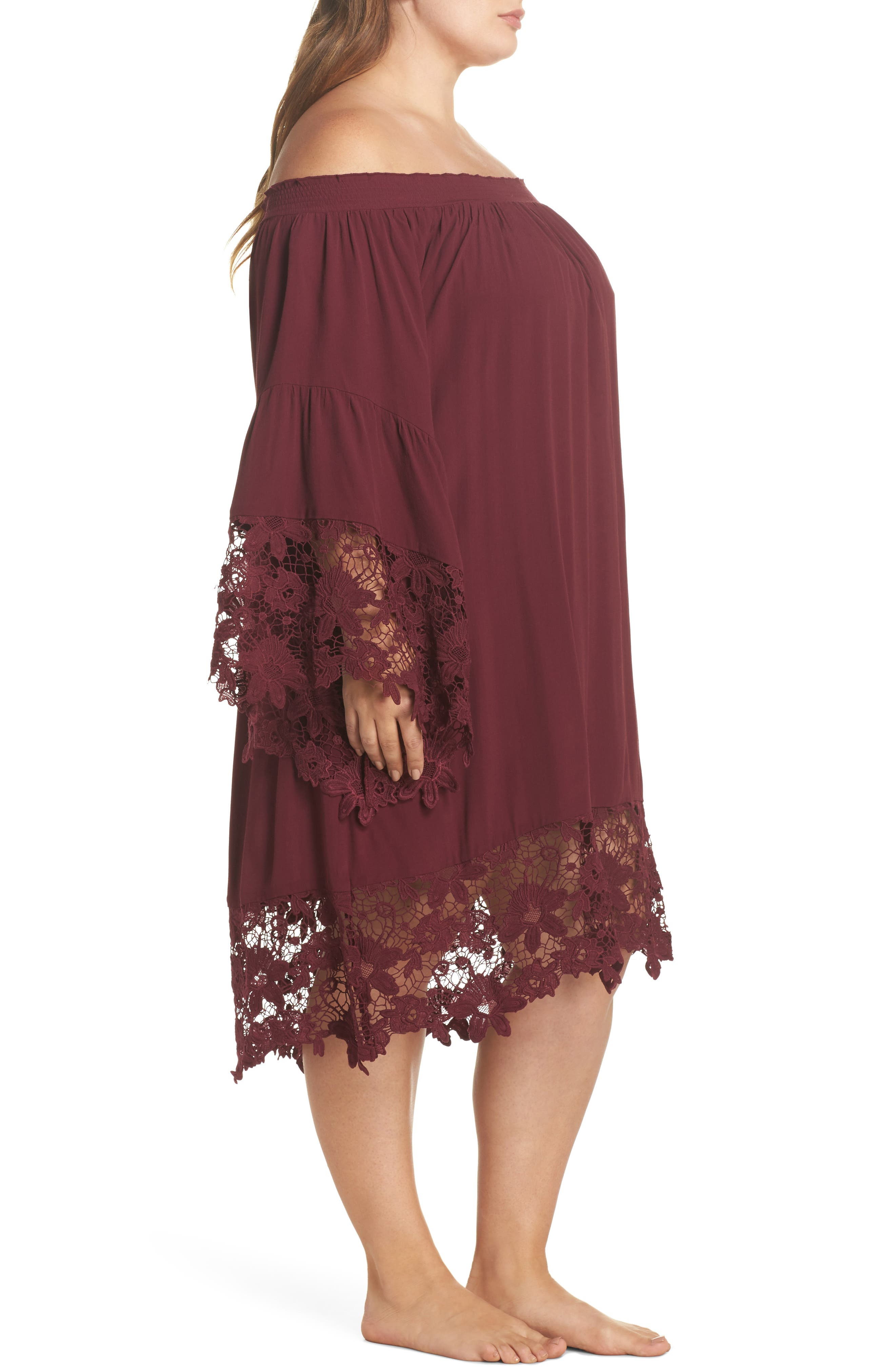 Jolie Lace Accent Cover-Up Dress,                             Alternate thumbnail 3, color,                             Burgundy