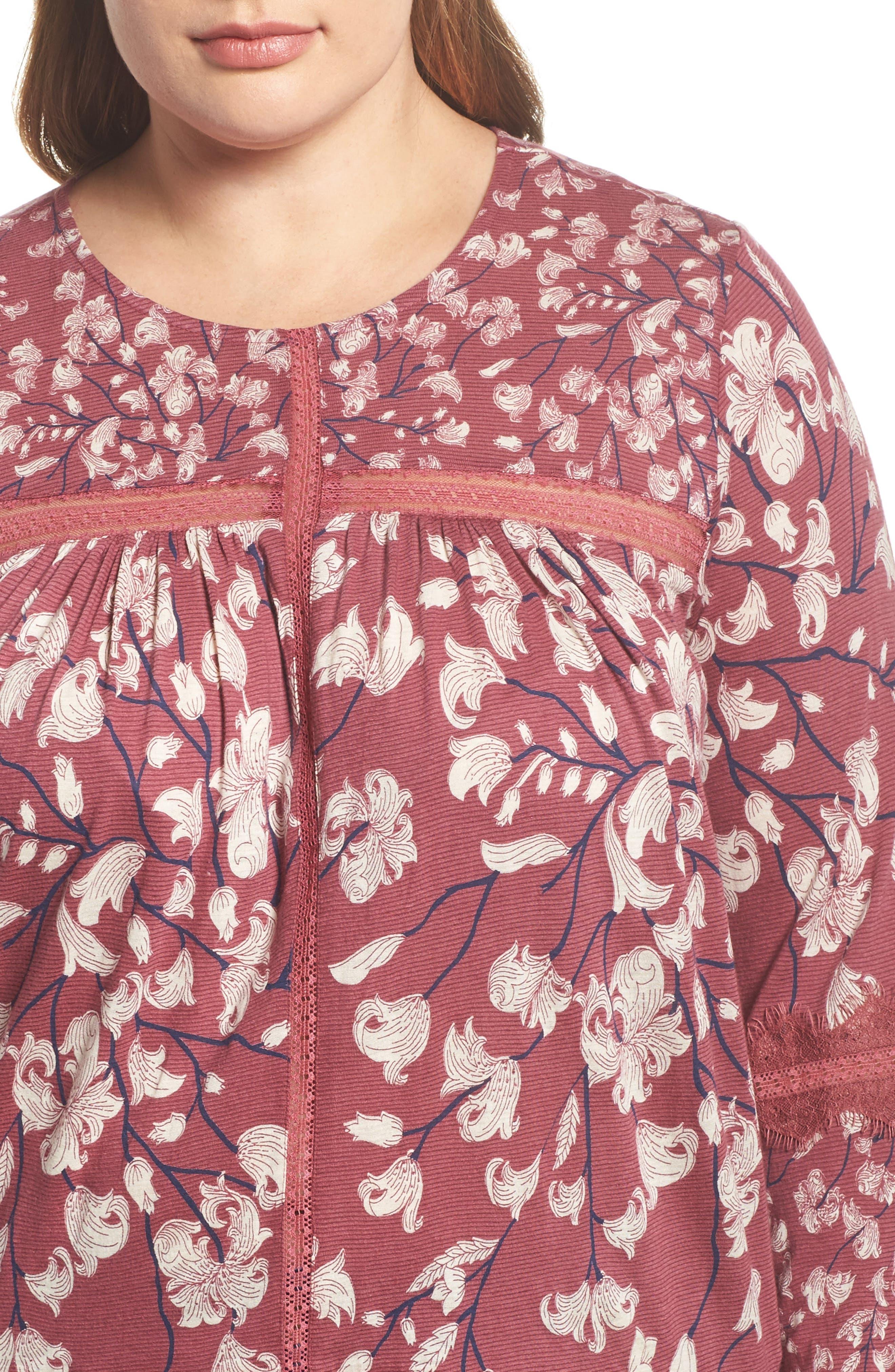 Lace Inset Print Top,                             Alternate thumbnail 4, color,                             Blush Multi