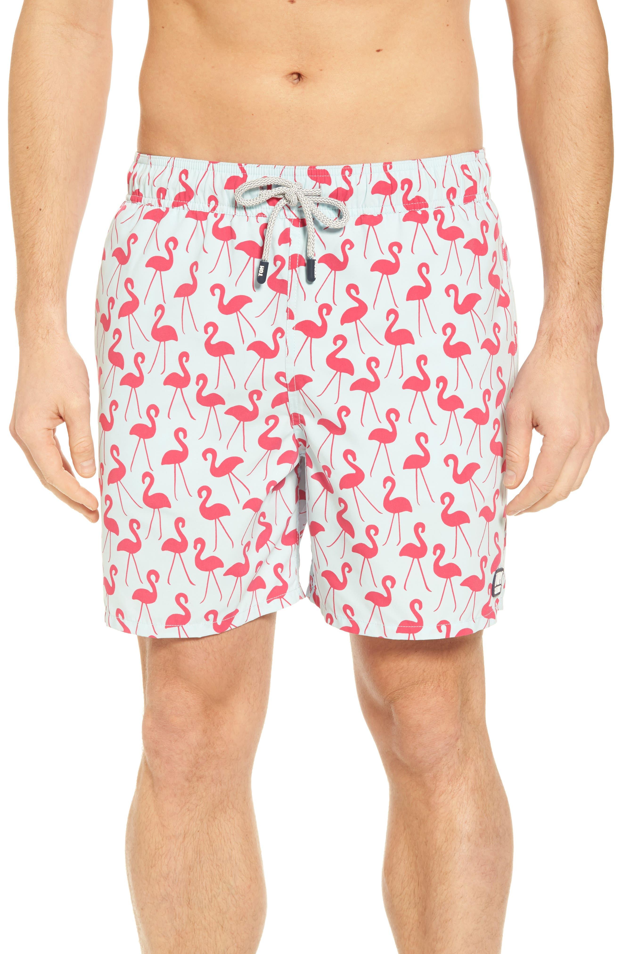 Flamingo Print Swim Trunks,                         Main,                         color, Fuchsia