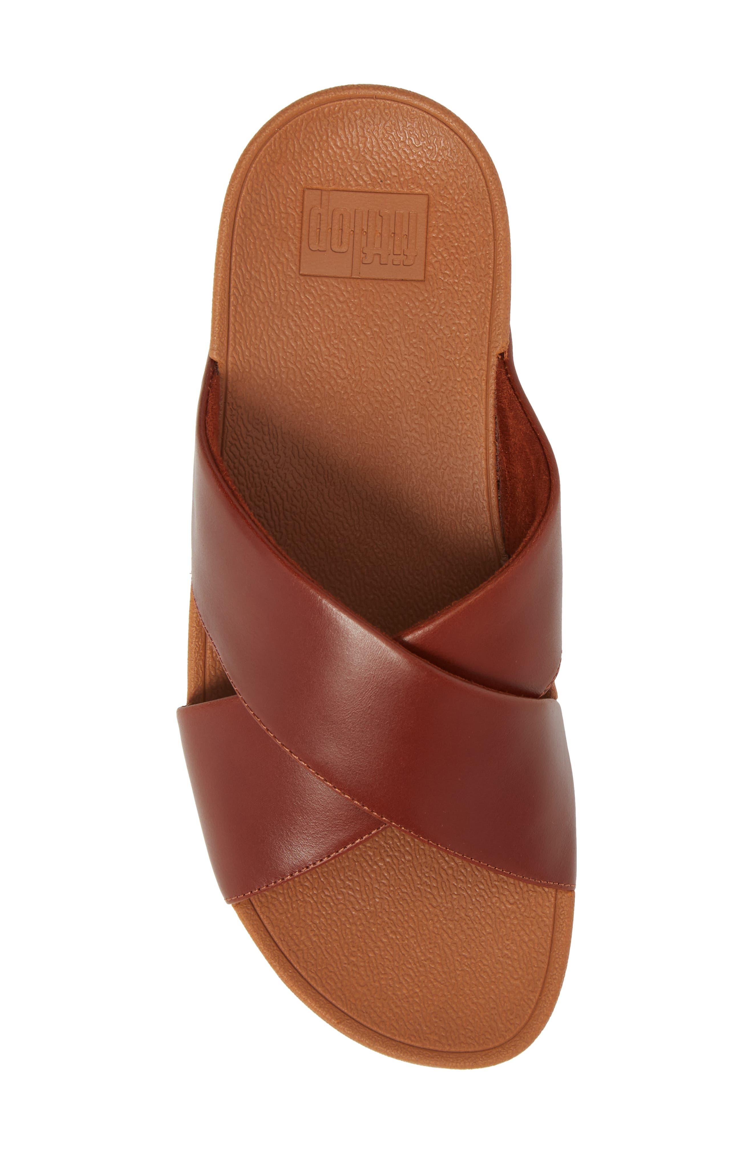 Lulu Cross Slide Sandal,                             Alternate thumbnail 5, color,                             Cognac