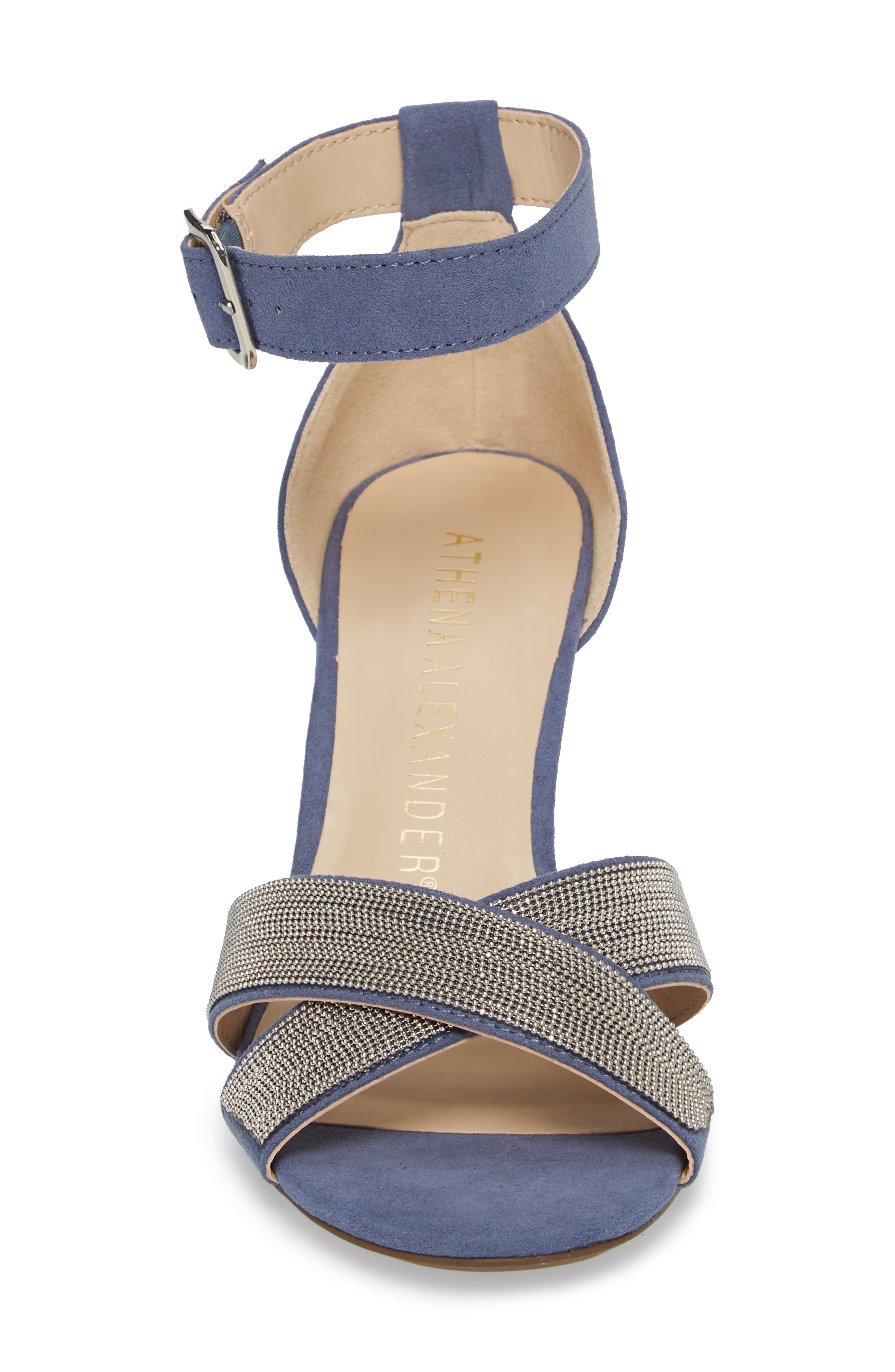 Zorra Wedge Sandal,                             Alternate thumbnail 4, color,                             Blue Suede