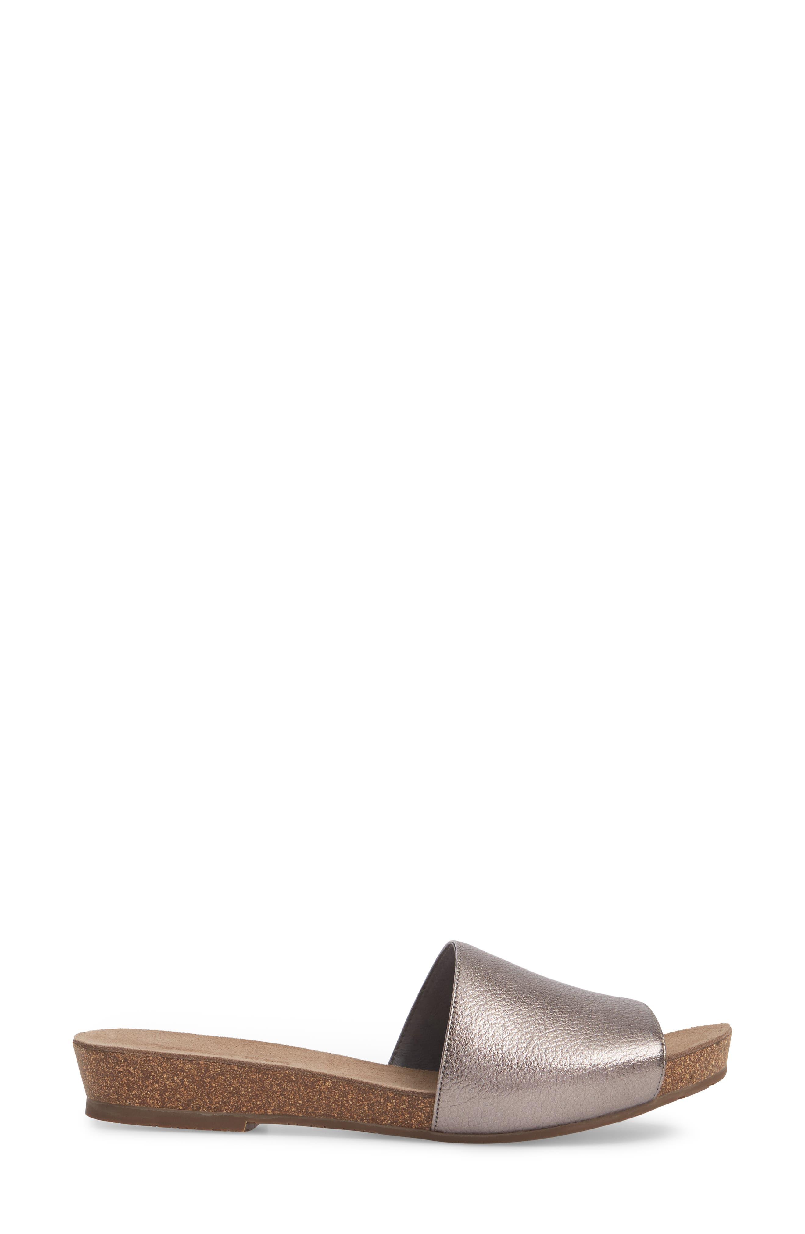 Viveca Slide Sandal,                             Alternate thumbnail 3, color,                             Gunmetal Leather