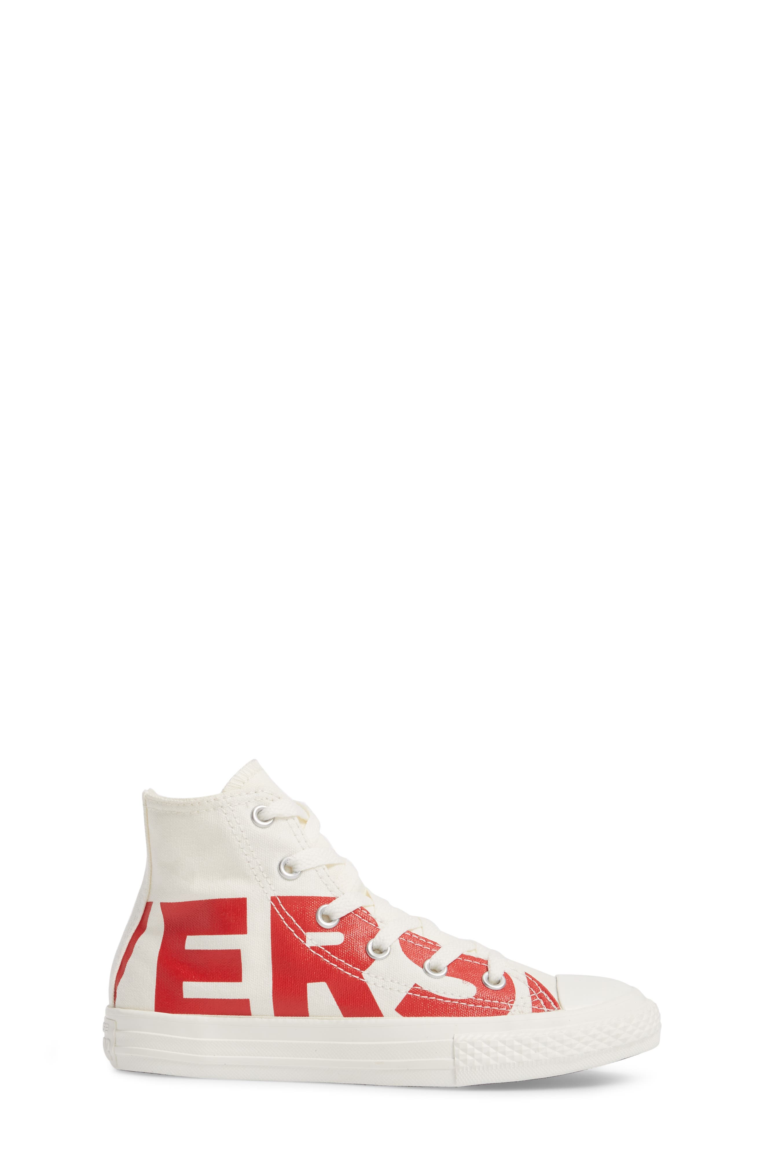 Chuck Taylor<sup>®</sup> All Star<sup>®</sup> Wordmark Hi Sneaker,                             Alternate thumbnail 3, color,                             Enamel Red