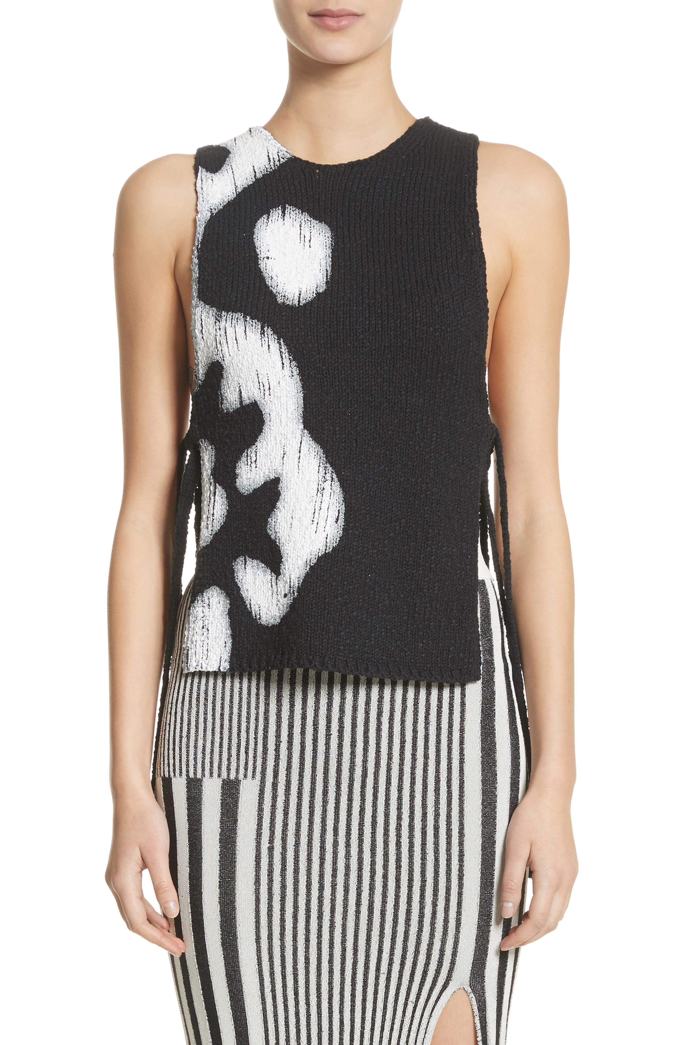 Painted Side Tie Tank Top,                             Main thumbnail 1, color,                             Black