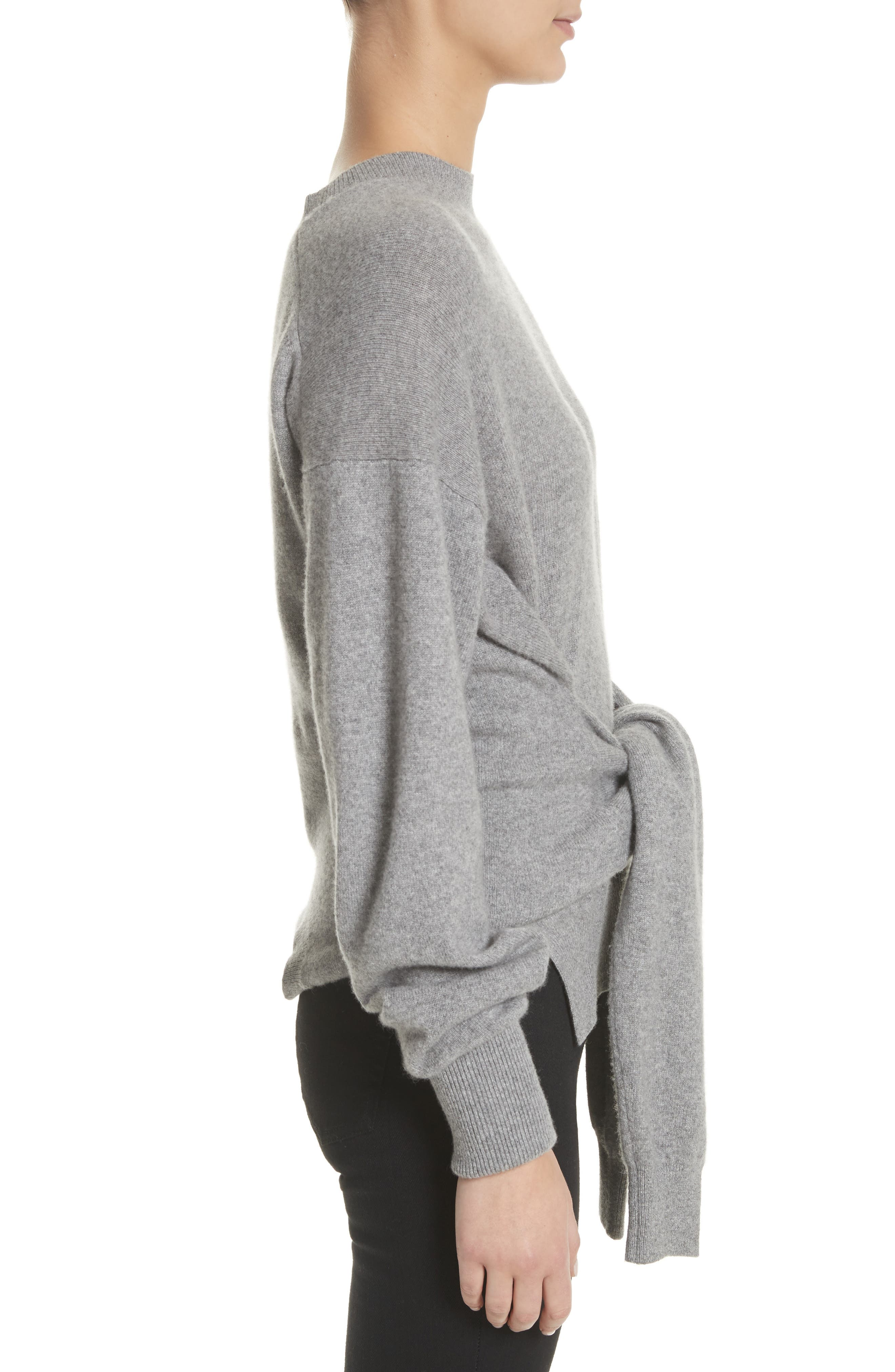 Inverted Tie Waist Wool & Cashmere Blend Sweater,                             Alternate thumbnail 3, color,                             Heather Grey