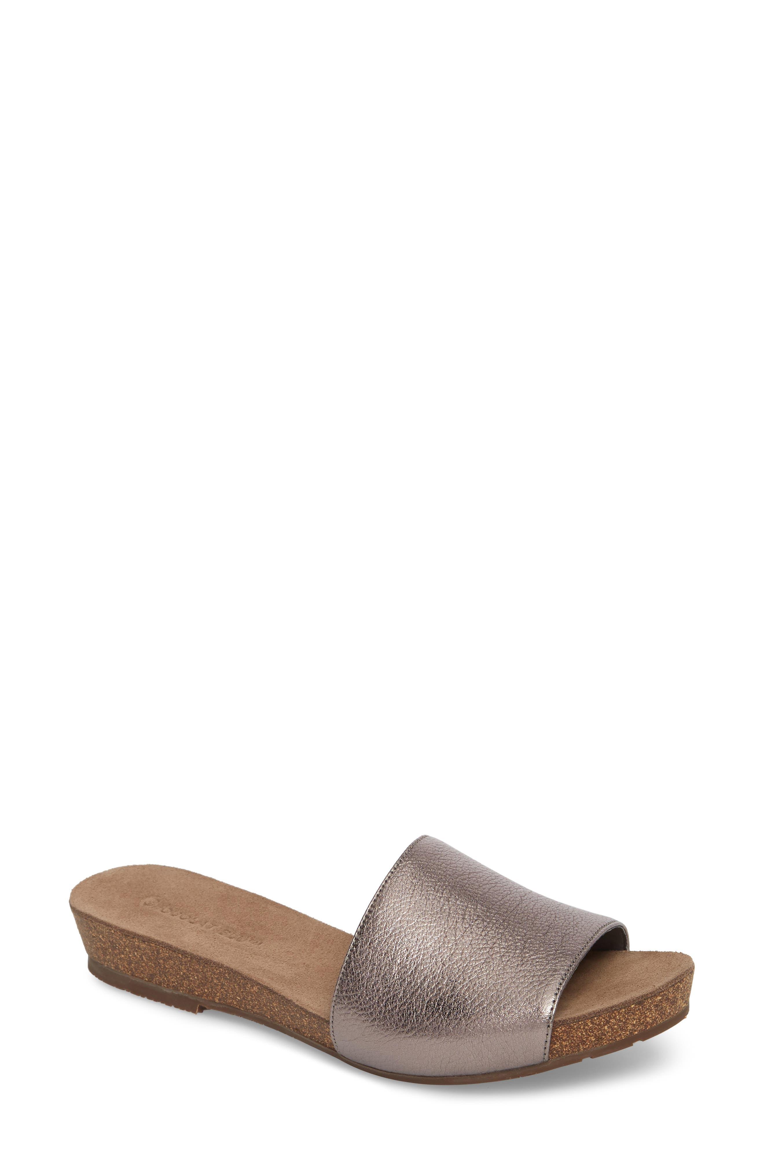 Viveca Slide Sandal,                             Main thumbnail 1, color,                             Gunmetal Leather
