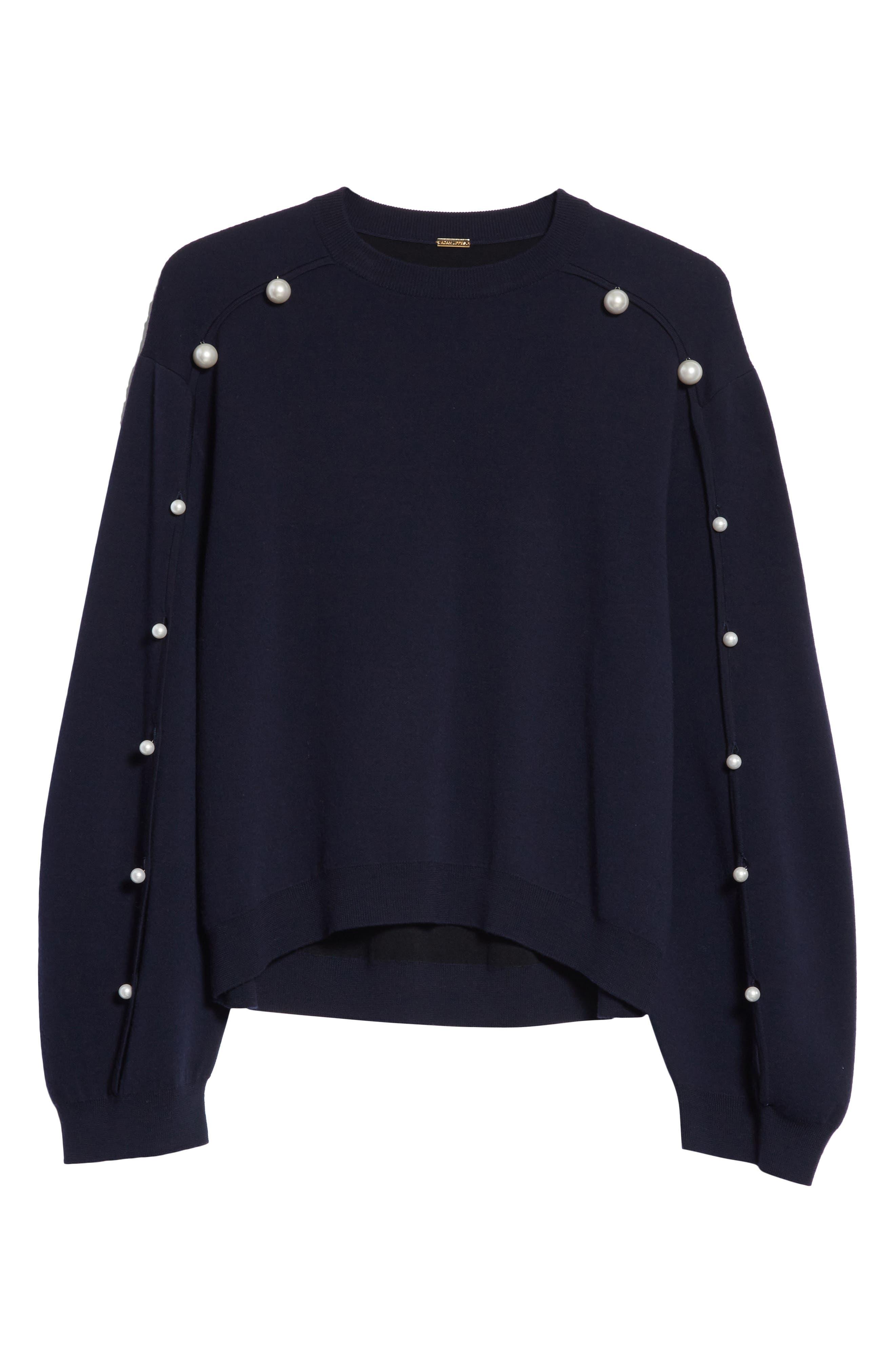 Imitation Pearl Sleeve Merino Wool Sweater,                             Alternate thumbnail 7, color,                             Navy/ Black
