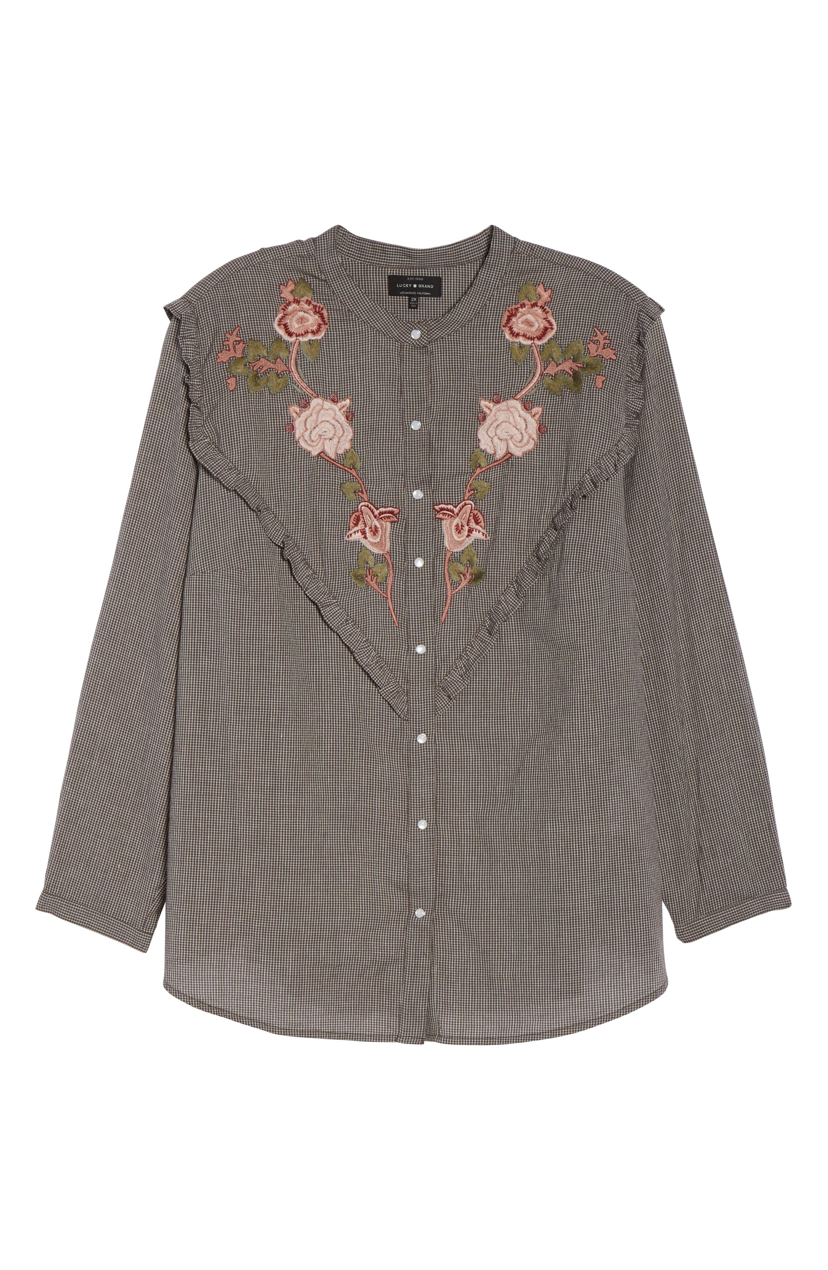 Alternate Image 6  - Lucky Brand Embroidered Western Shirt (Plus Size)