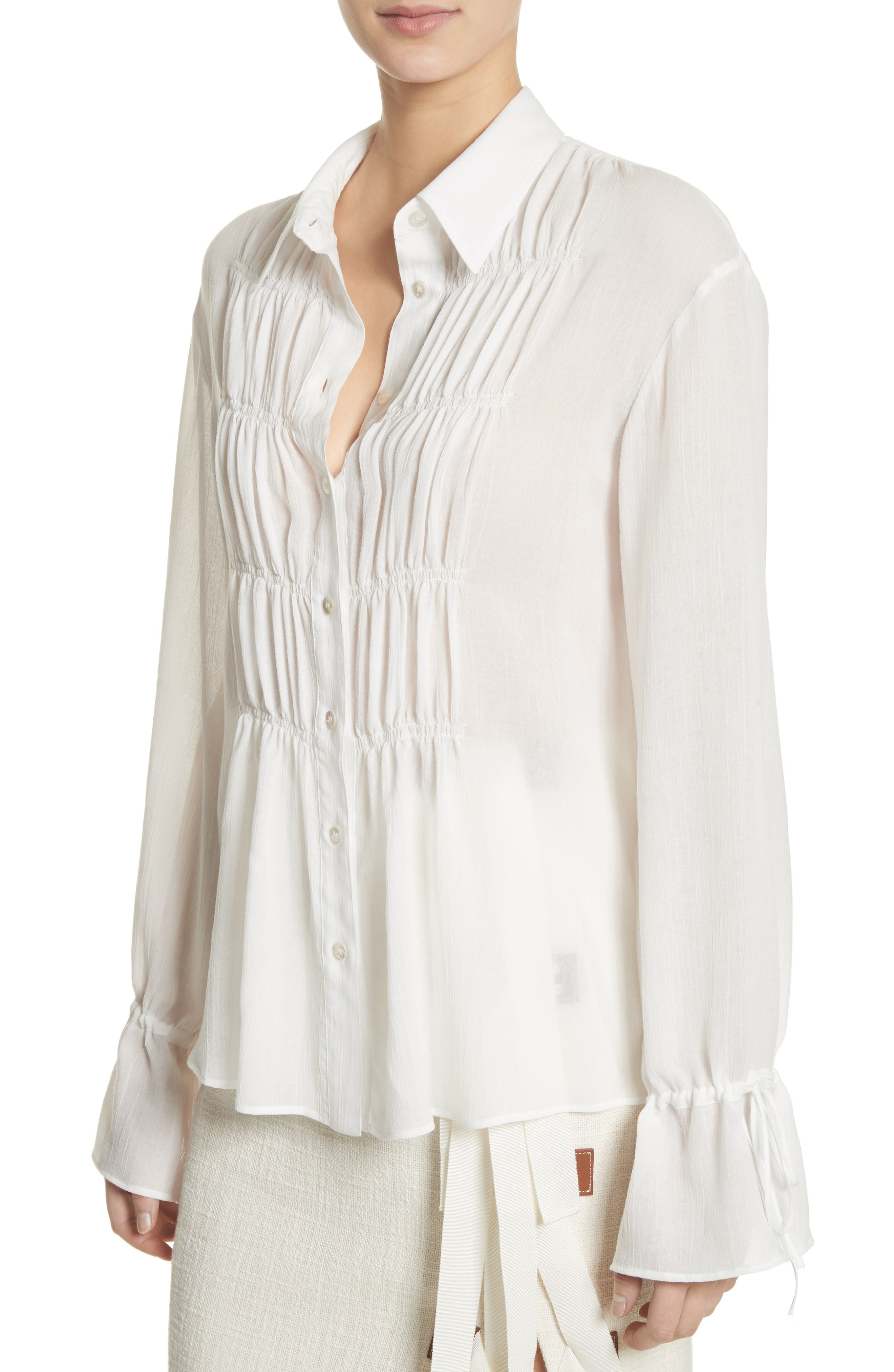 Ruched Detail Blouse,                             Alternate thumbnail 4, color,                             Optic White