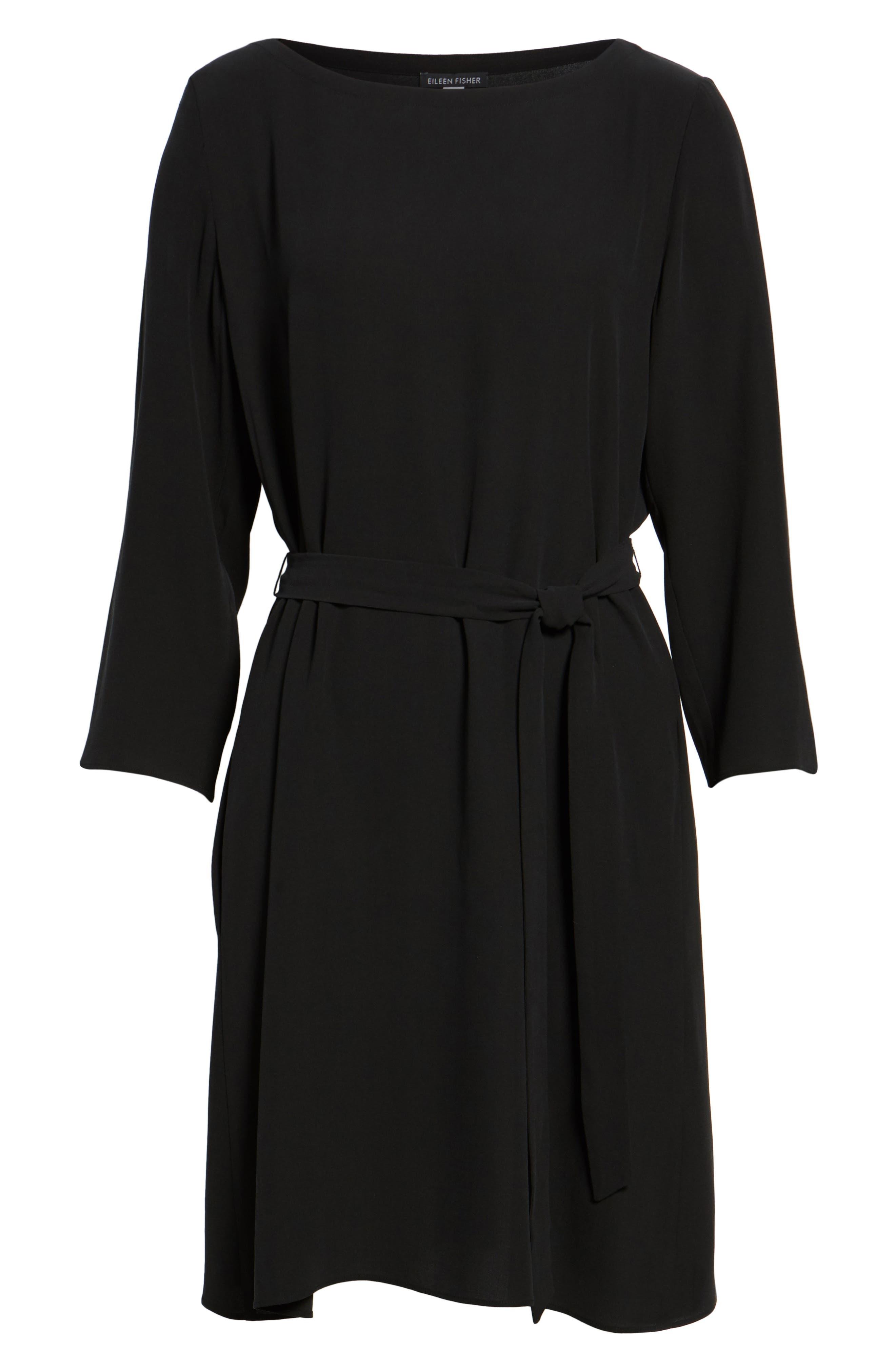 Bateau Neck Silk Dress,                             Alternate thumbnail 6, color,                             Black