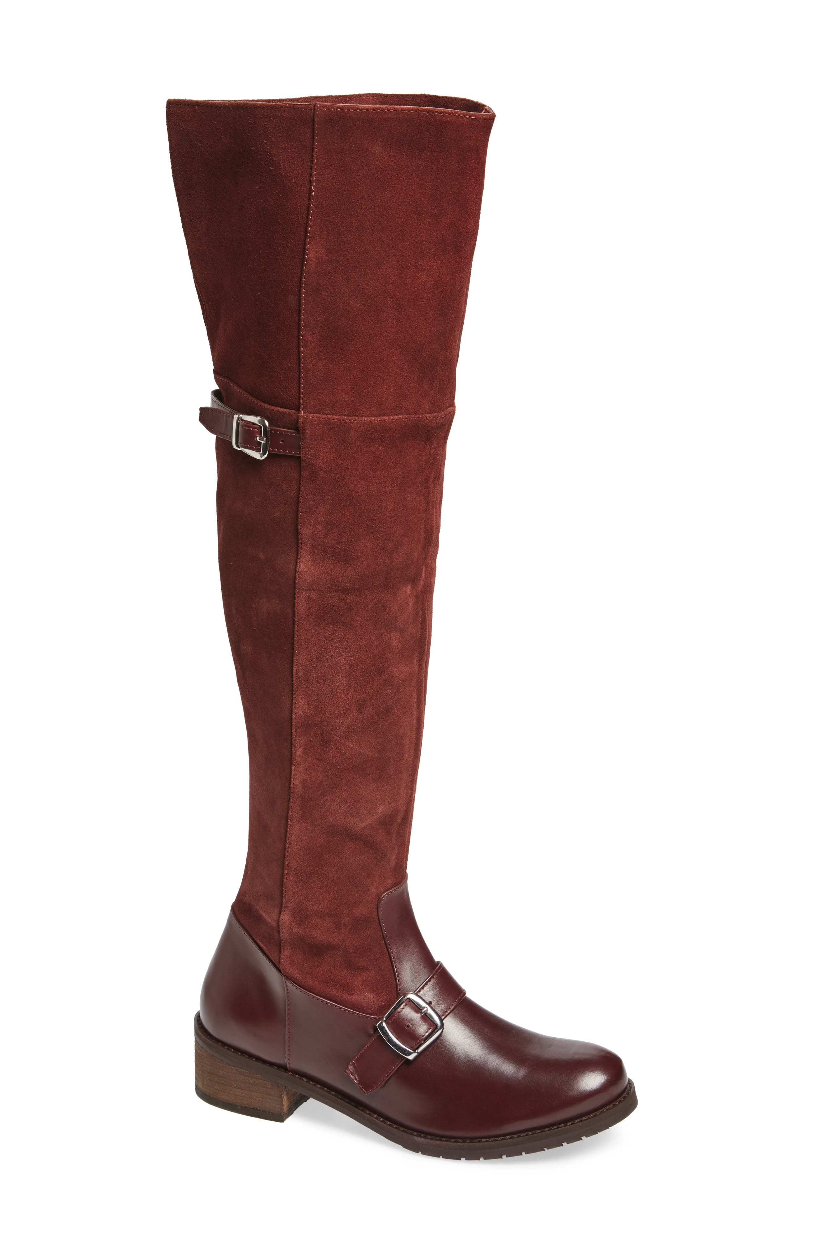 Lola Over the Knee Boot,                             Main thumbnail 1, color,                             Wine Suede
