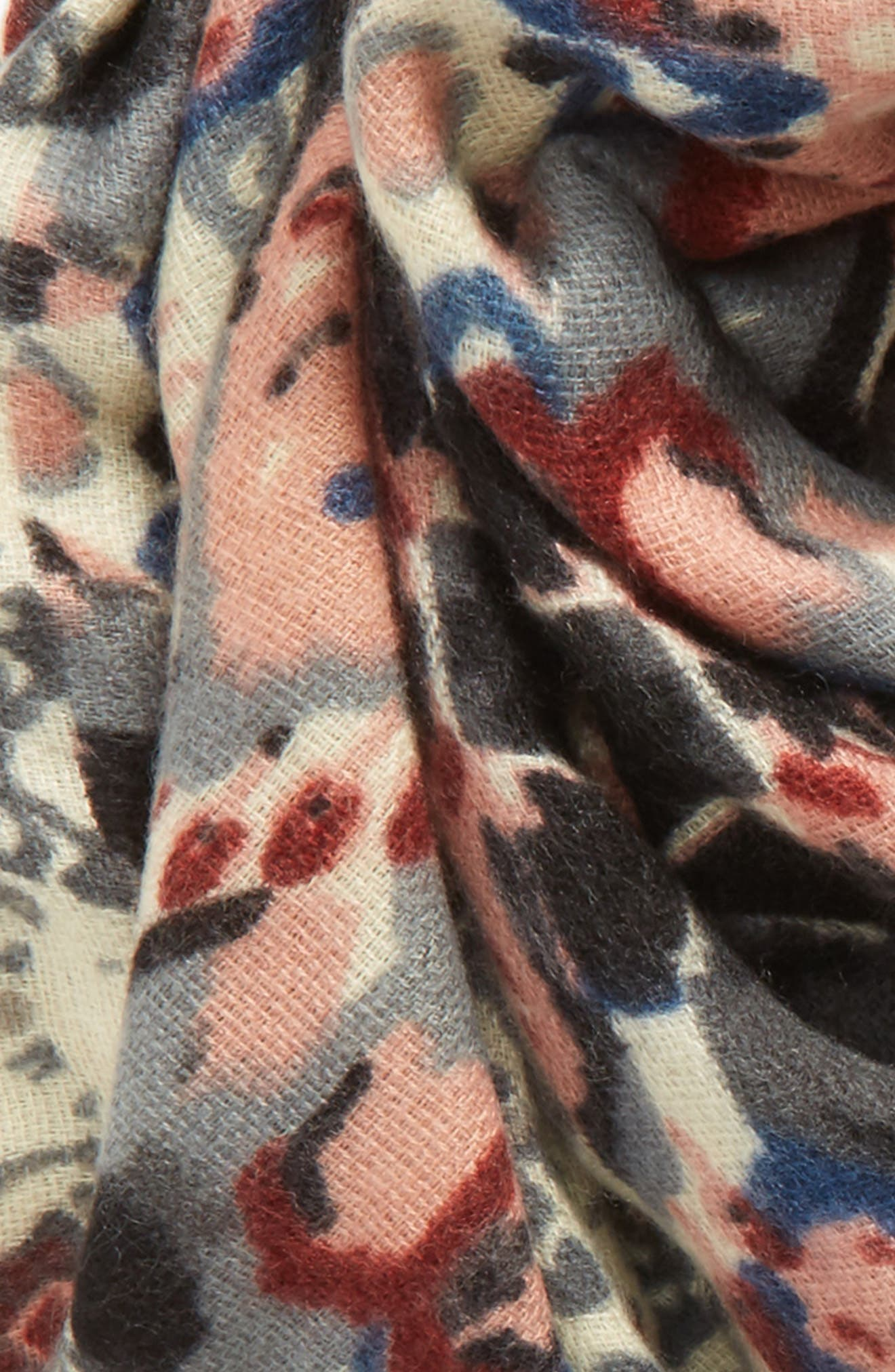 Baroque Pattern Wrap Scarf,                             Alternate thumbnail 3, color,                             Pink Multi
