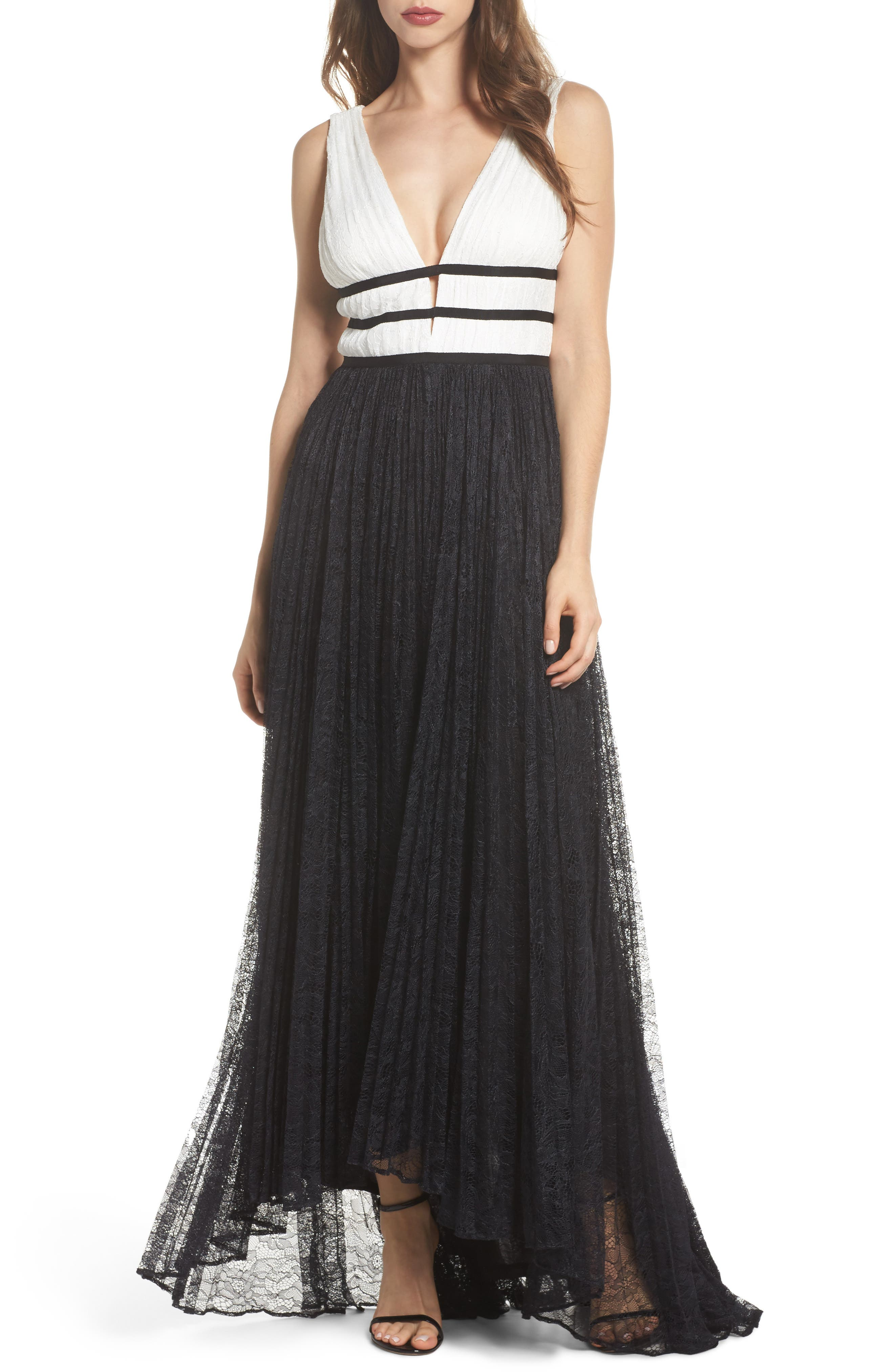Two-Tone Lace Gown,                             Main thumbnail 1, color,                             Ivory/ Black