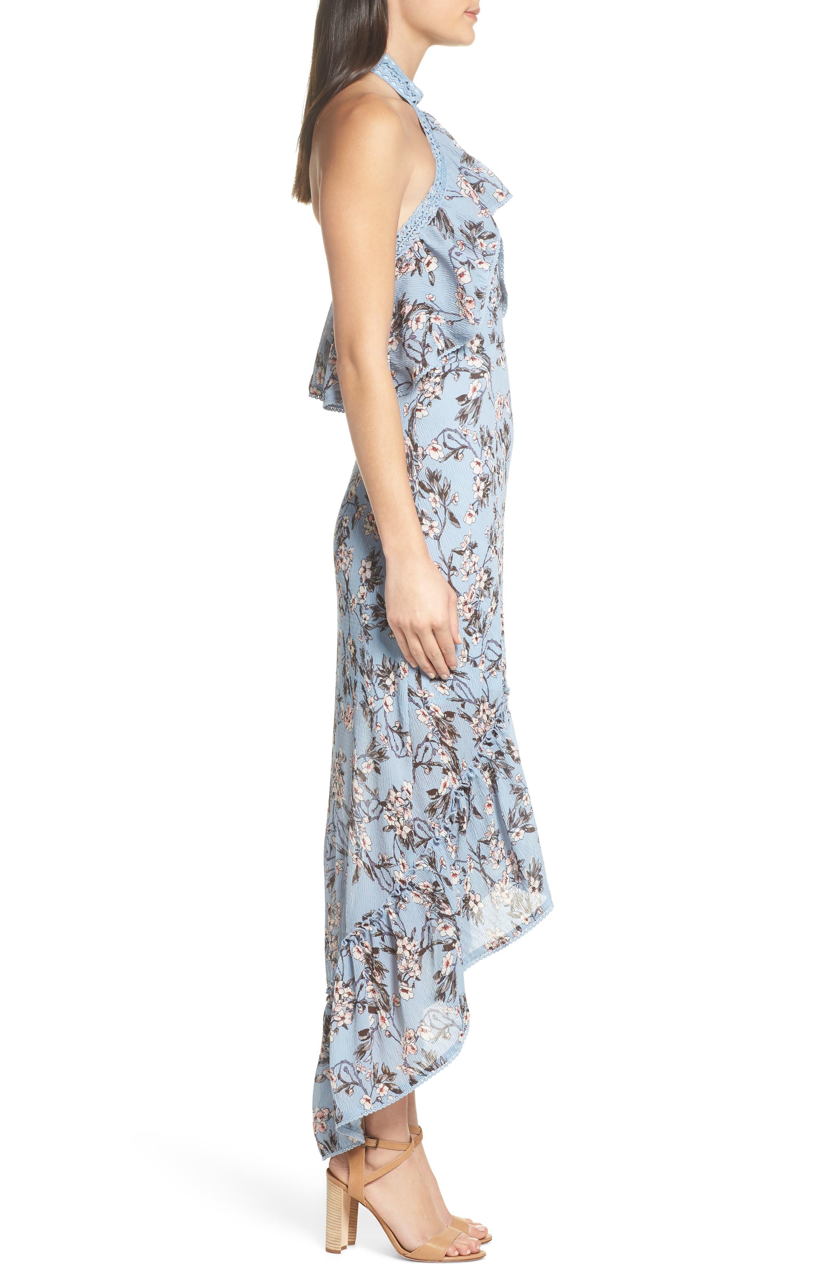 Floral Print High/Low Halter Dress,                             Alternate thumbnail 3, color,                             Blue Madison Floral