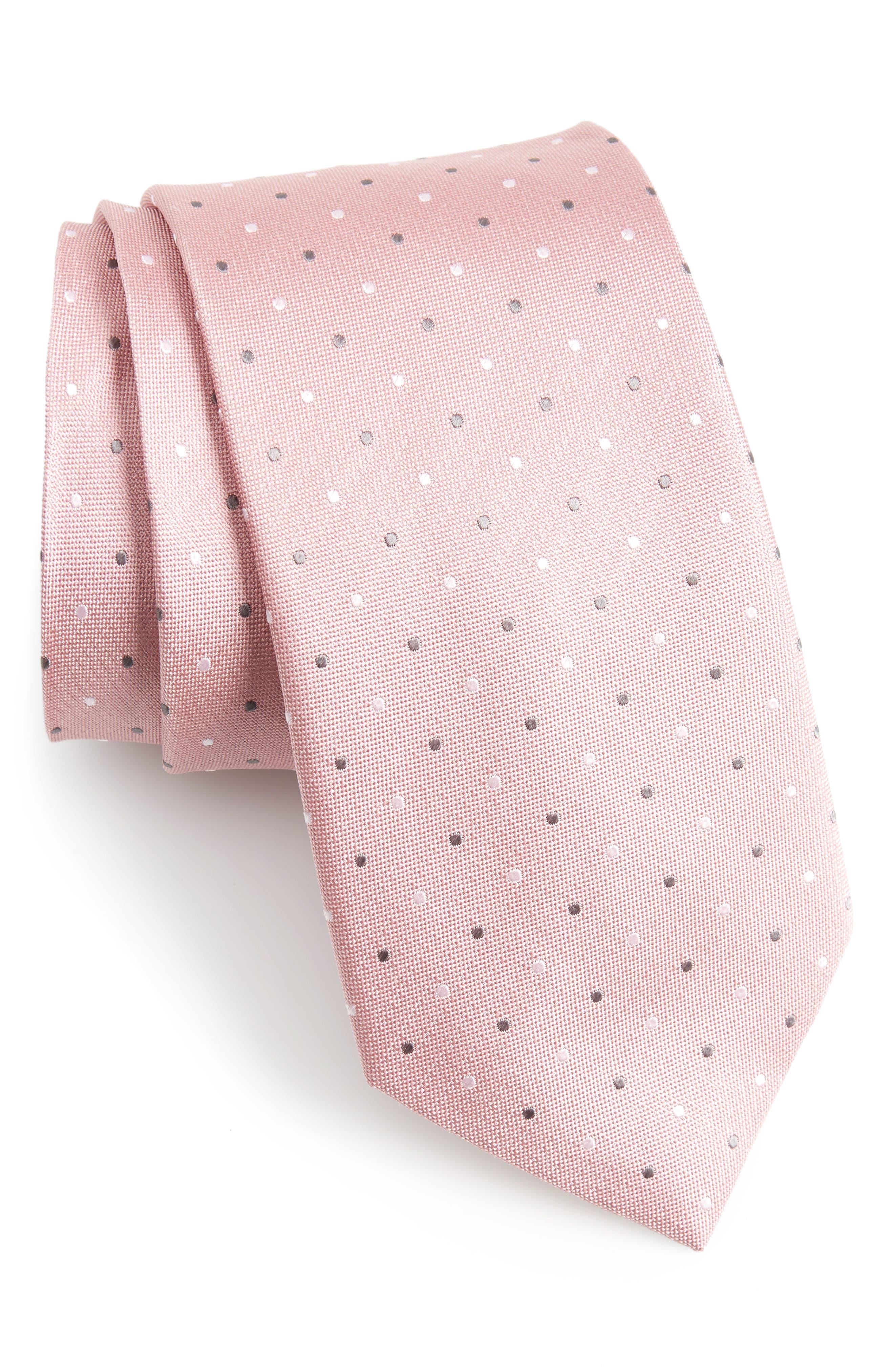 Dot Silk Tie,                             Main thumbnail 1, color,                             Soft Pink