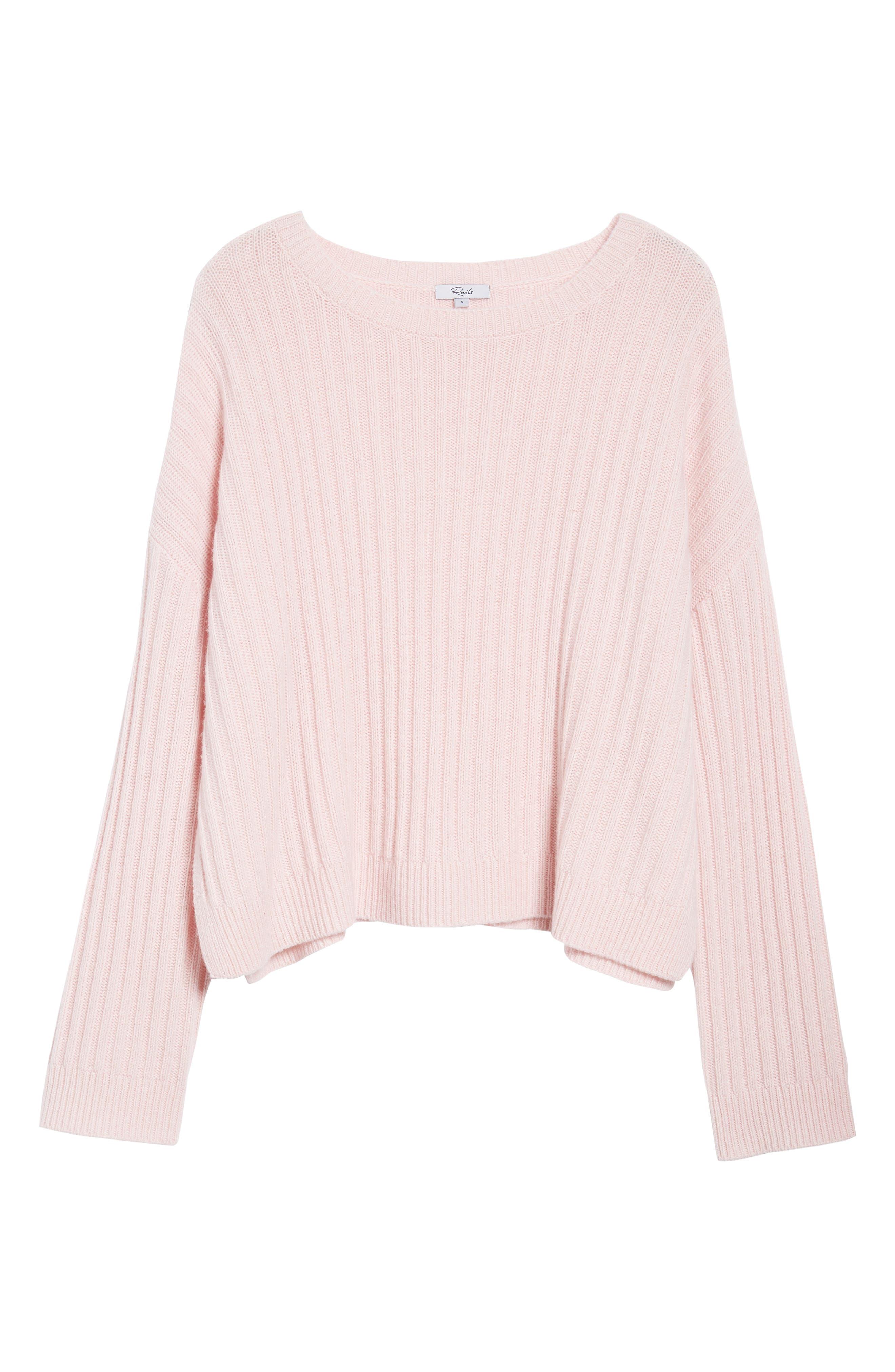 Joelle Rib Wool & Cashmere Sweater,                             Alternate thumbnail 6, color,                             Petal Melange