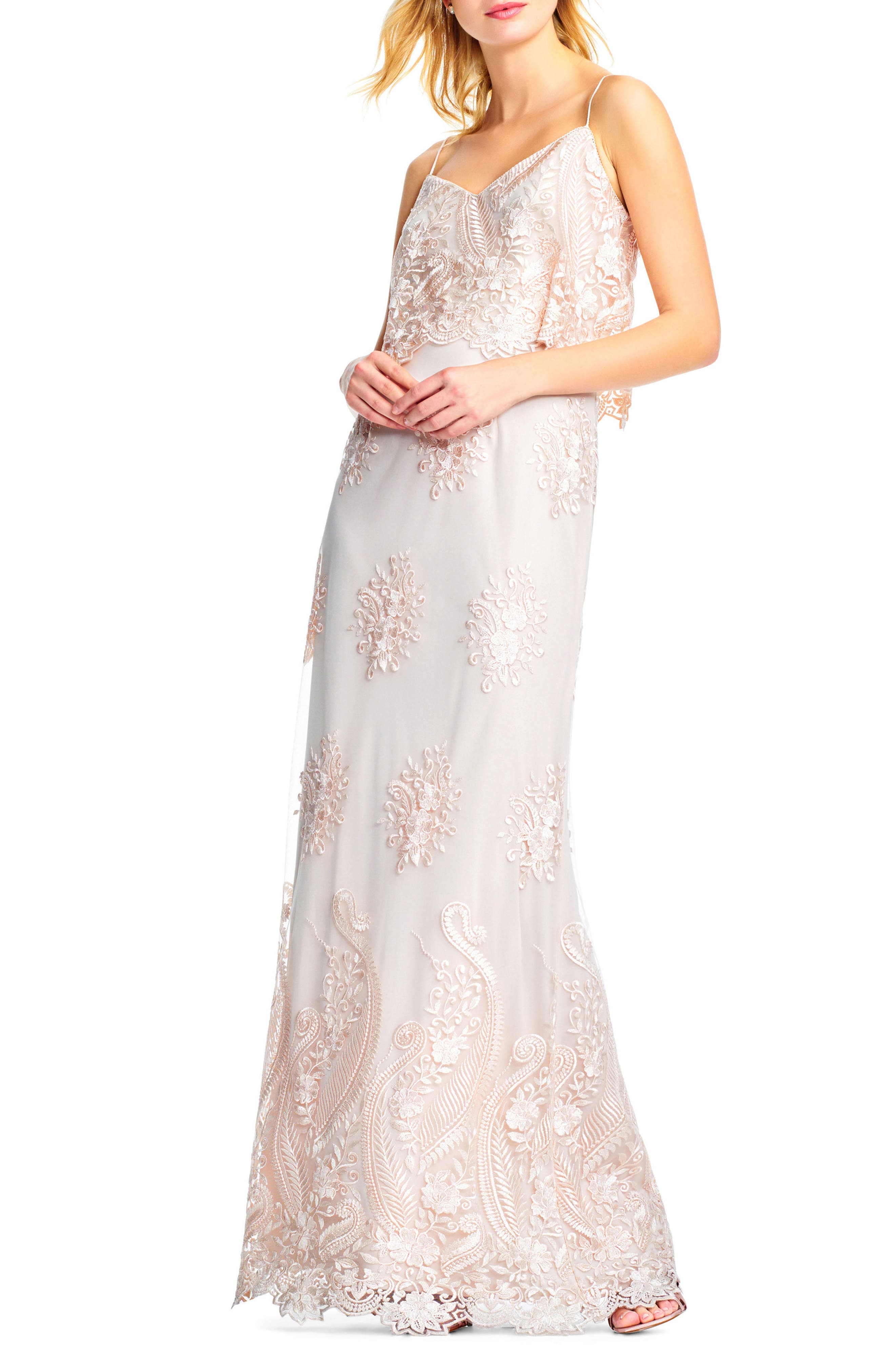Alternate Image 3  - Adrianna Papell Embroidered Popover Tulle Gown