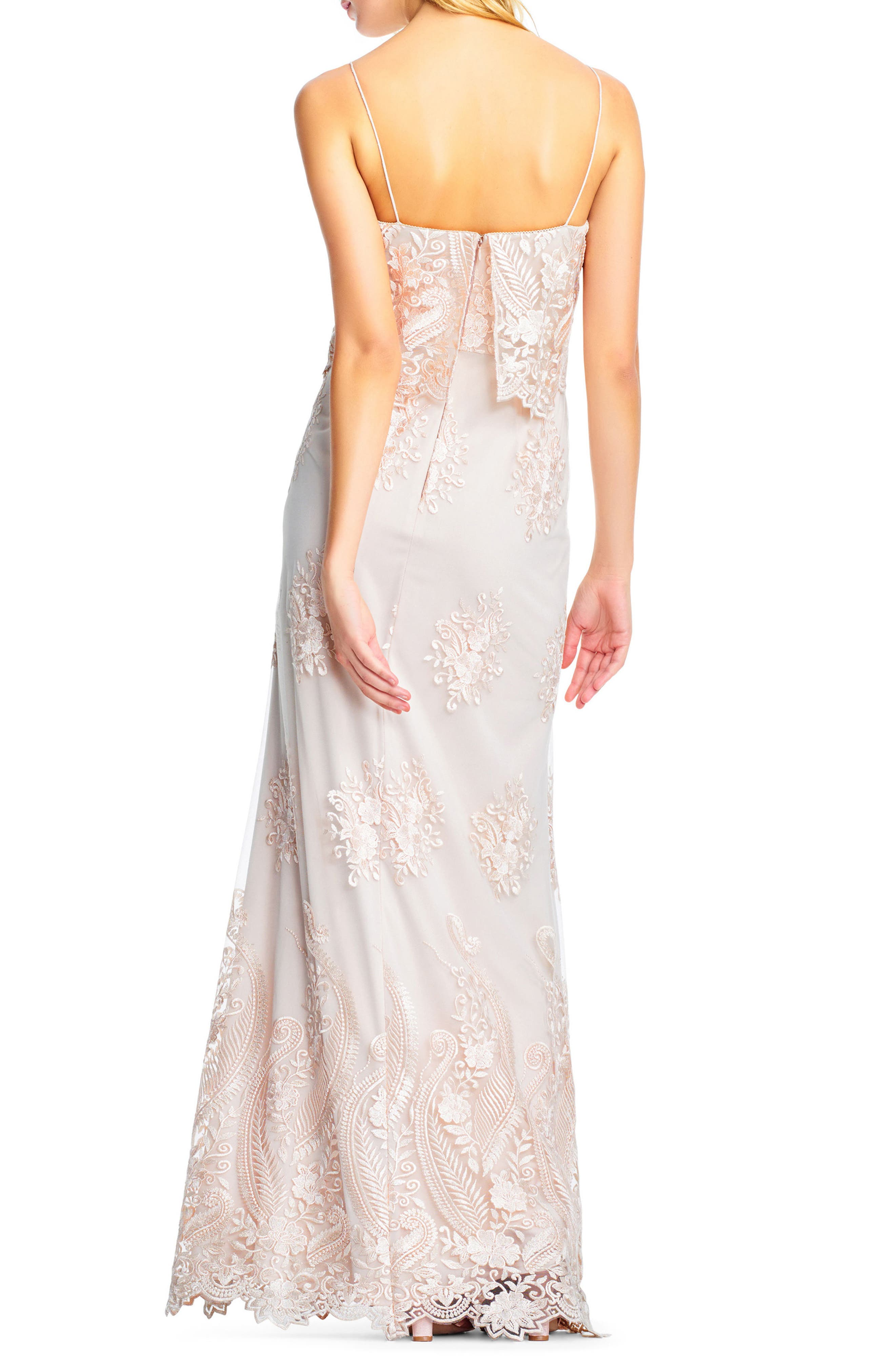 Alternate Image 2  - Adrianna Papell Embroidered Popover Tulle Gown