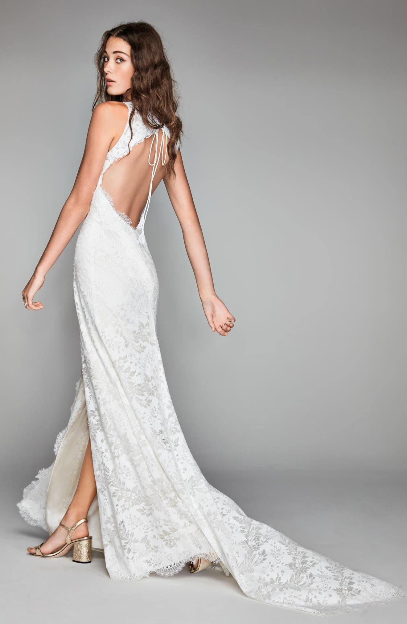 Libra Lace Sheath Gown,                             Alternate thumbnail 2, color,                             Ivory/ Oyster