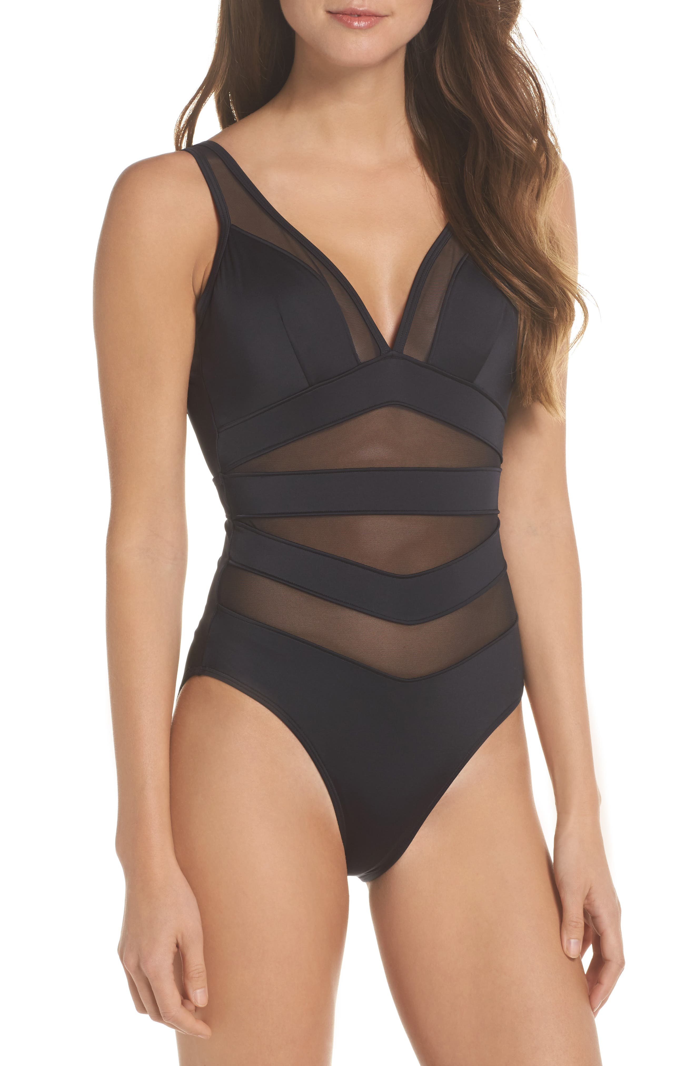 Main Image - Ted Baker London Illiana Mesh Detail One-Piece Swimsuit