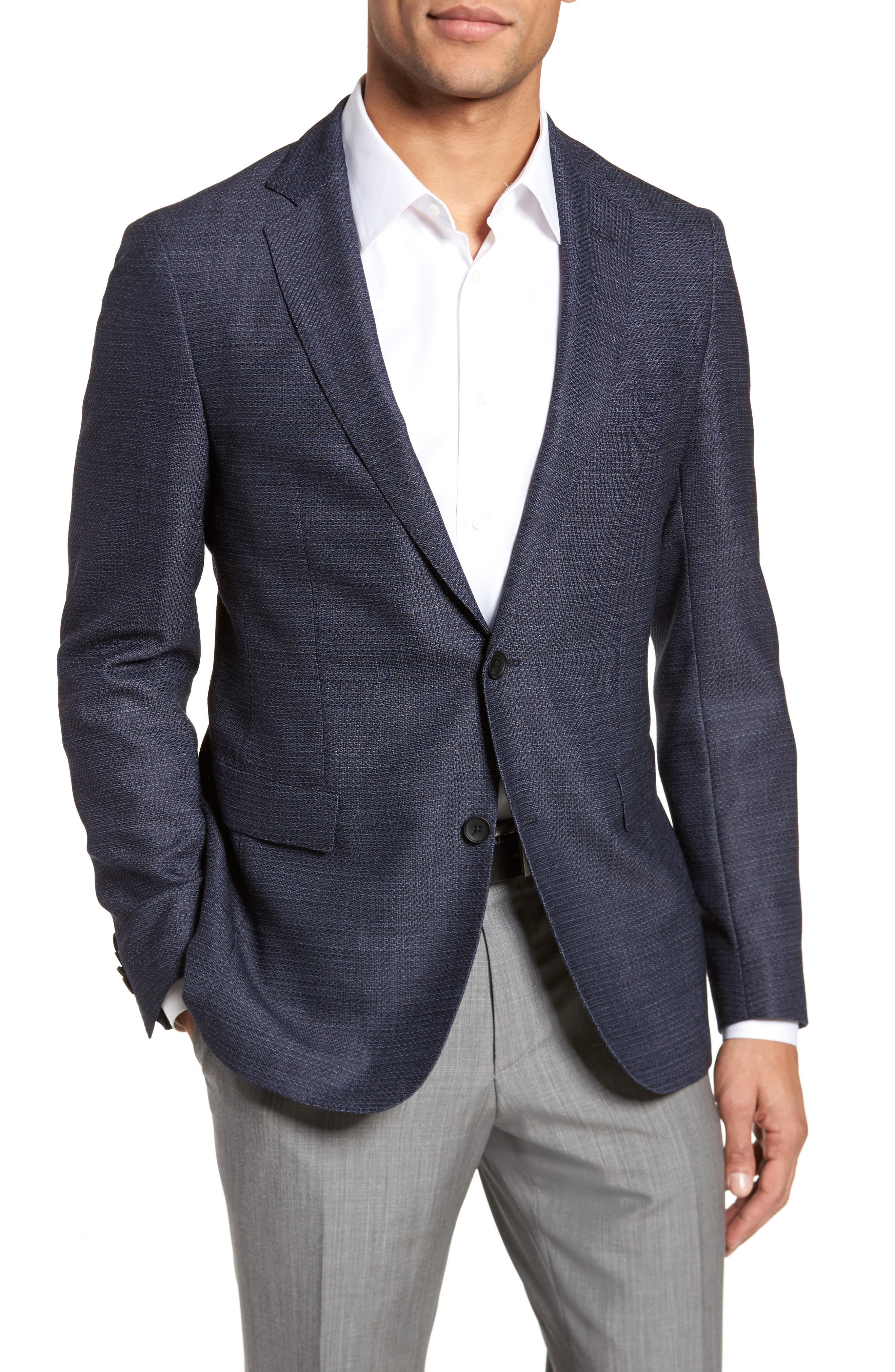 Roan Extra Trim Fit Stretch Wool Blend Blazer,                         Main,                         color, Navy