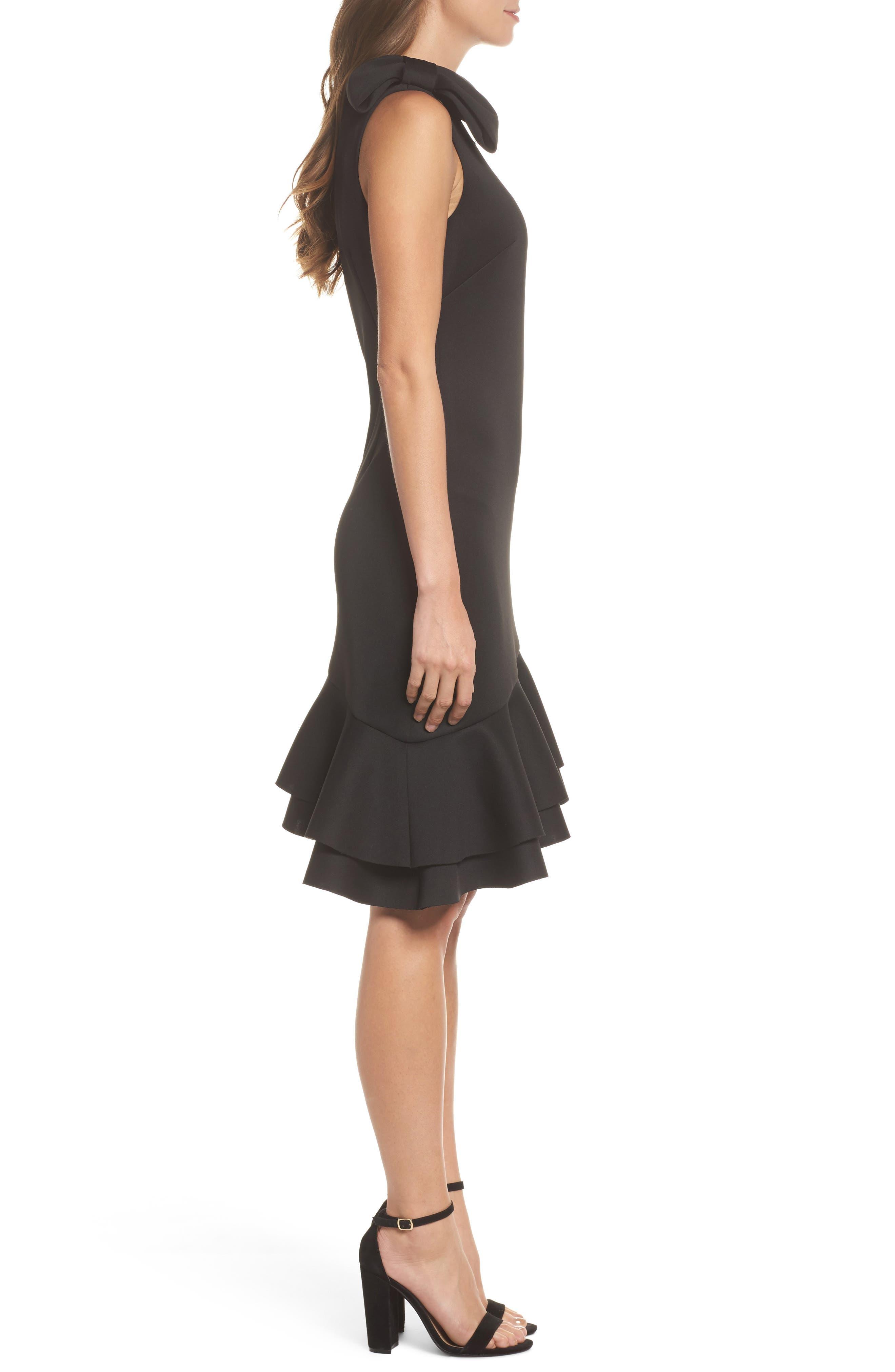 One-Shoulder Asymmetric Dress,                             Alternate thumbnail 3, color,                             Black