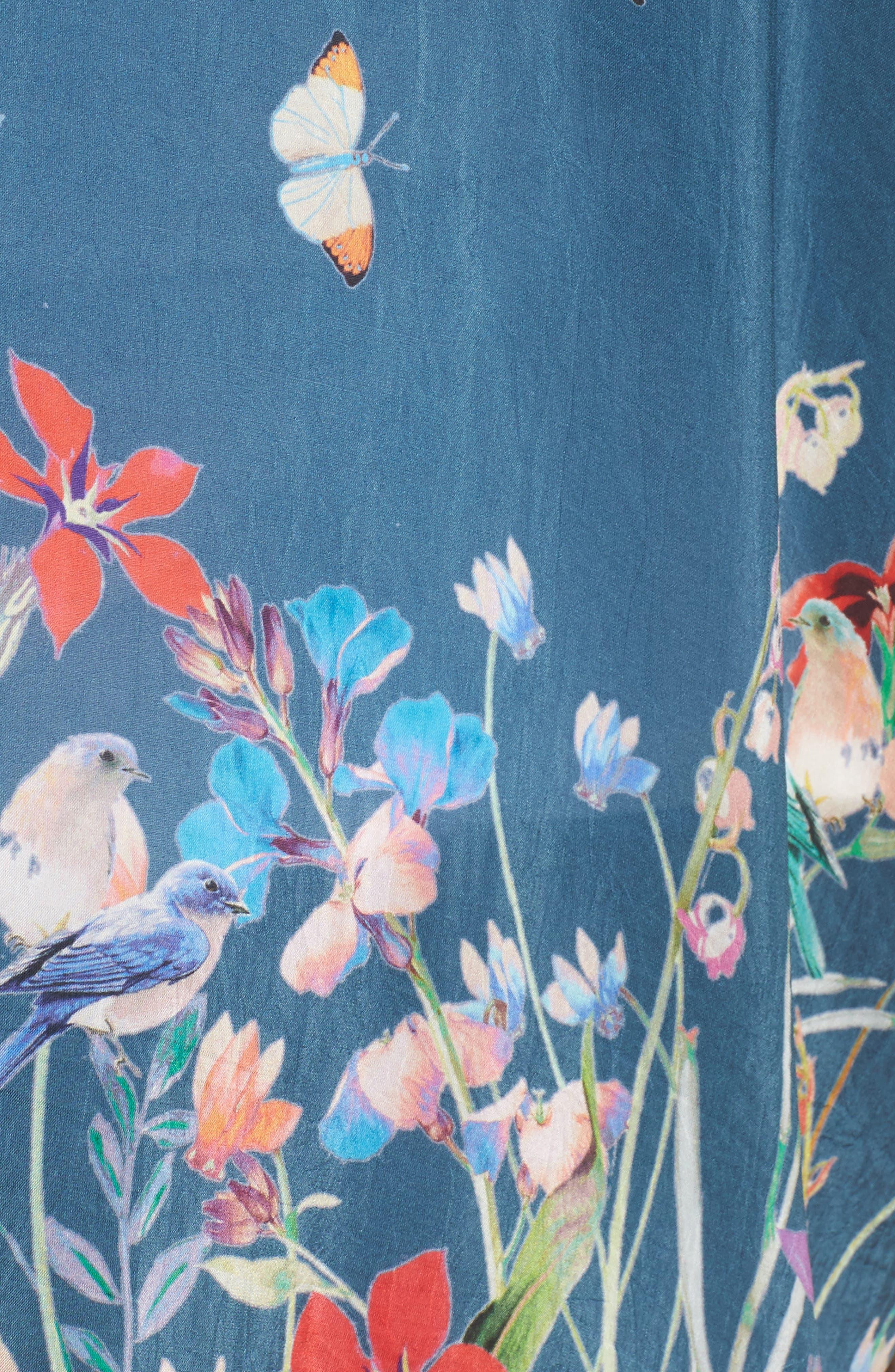 Summer Paisley Silk Kimono,                             Alternate thumbnail 5, color,                             Multi/ Blue
